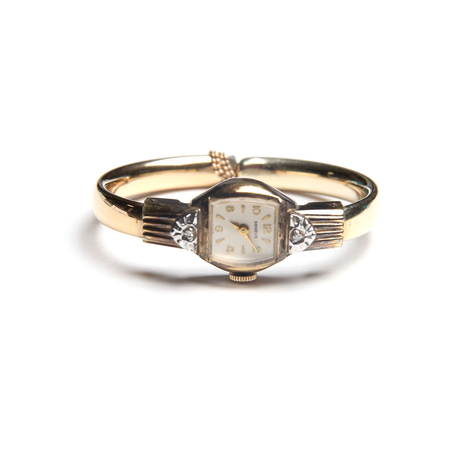 10K Yellow Gold Filled and Diamond Benrus Wristwatch