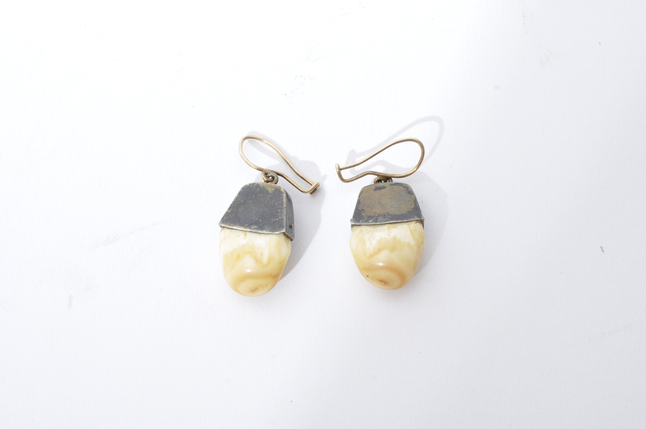 Pair of Sterling Silver and Elk Ivory Earrings