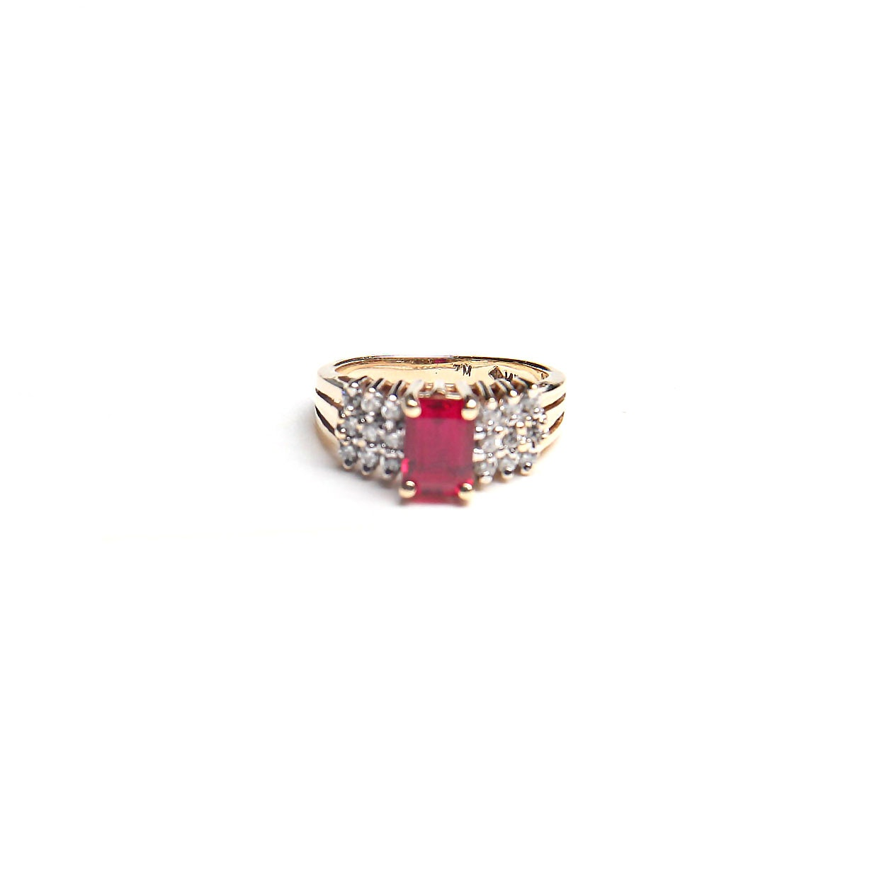 14K Gold Ruby and Diamond Ring