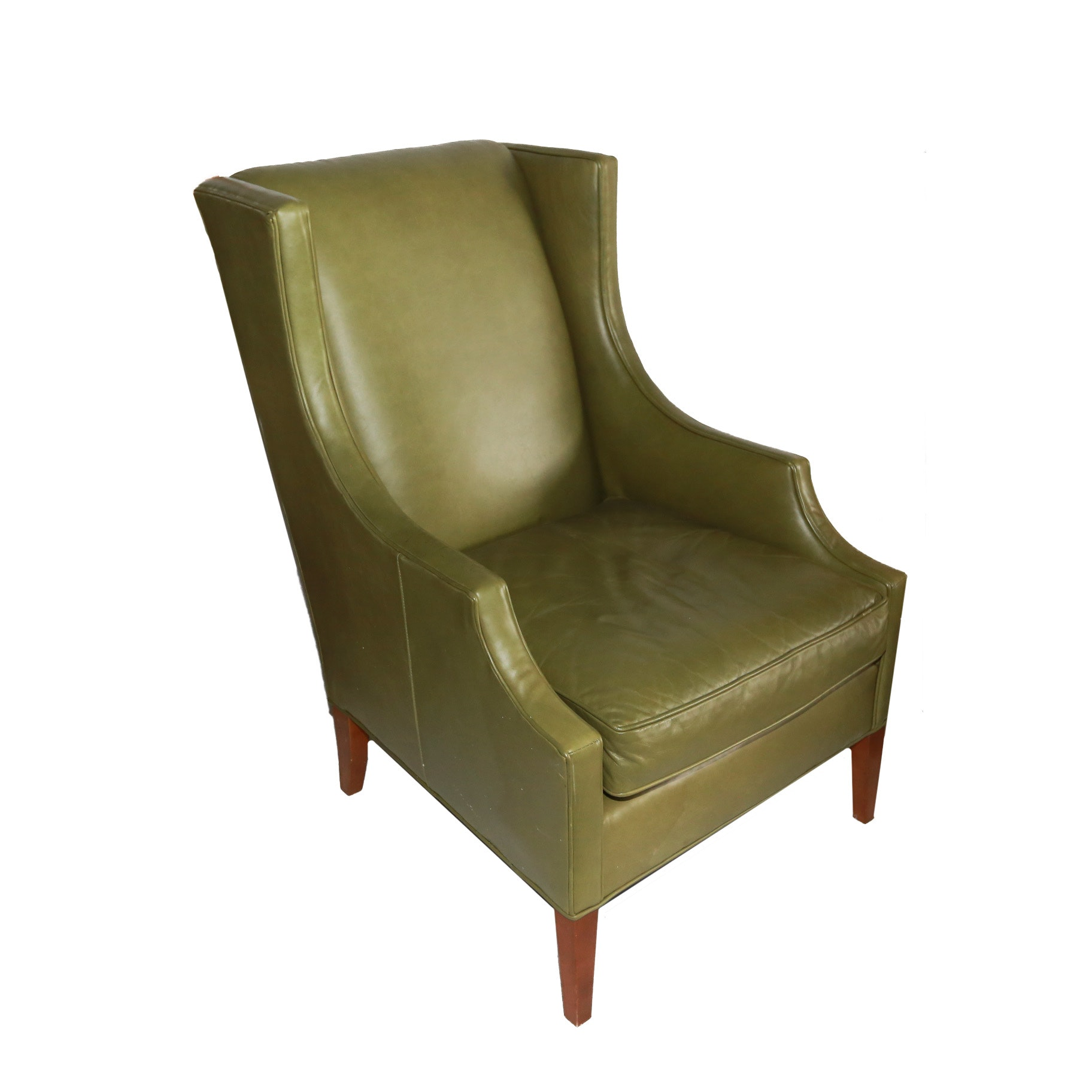 Mitchell Gold + Bob Williams Olive Green Leather Armchair ...