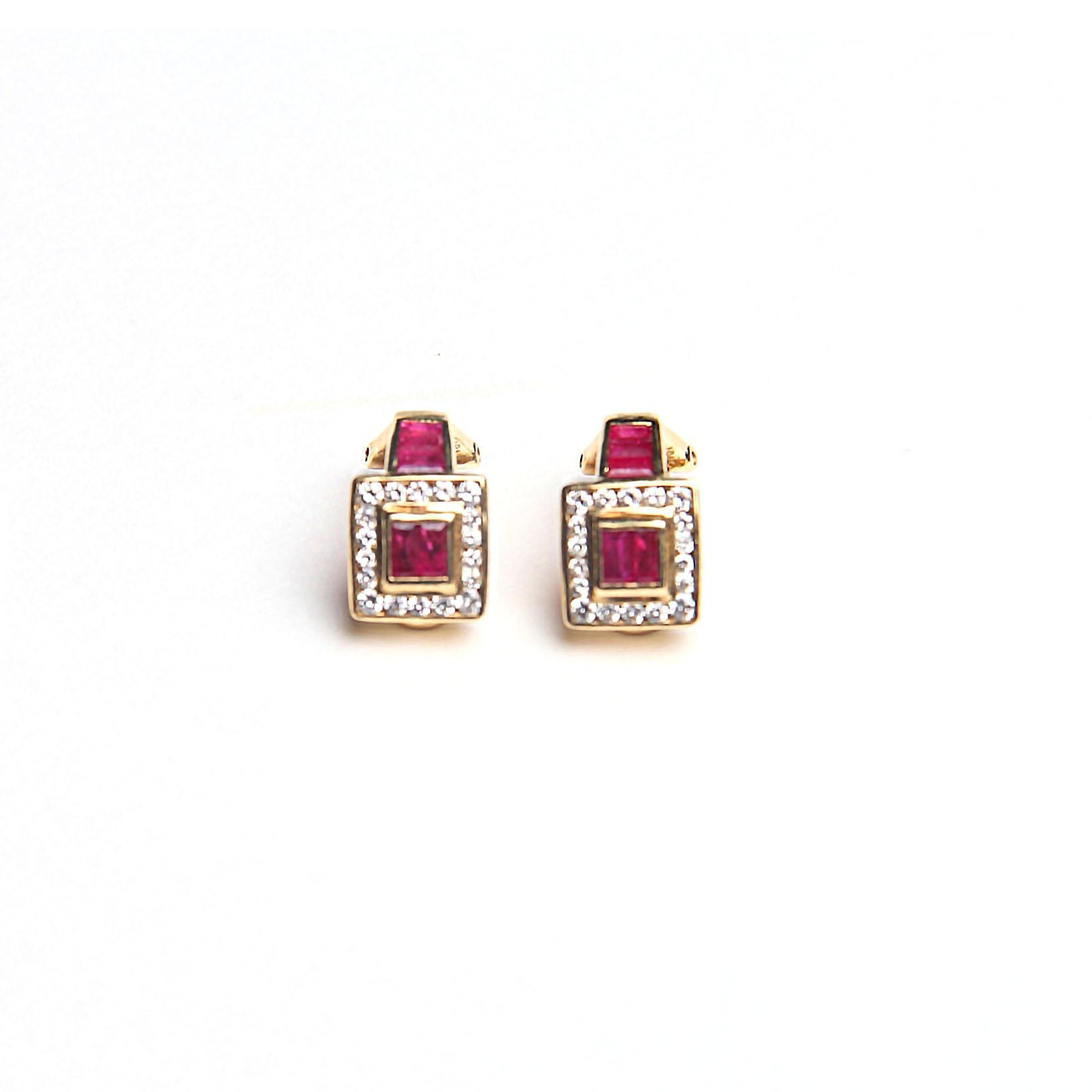 18K Diamond and Ruby Earrings
