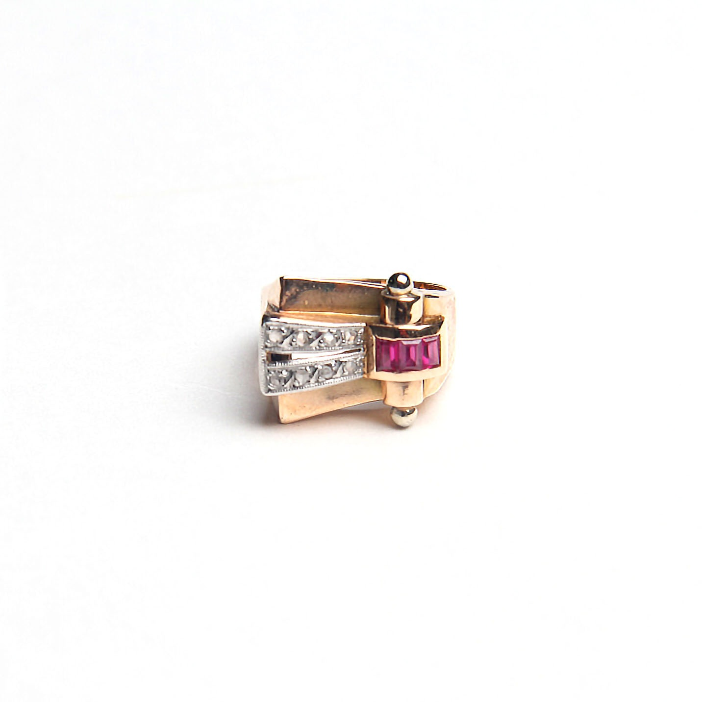 18K Yellow Gold Diamond and Ruby Modernistic Ring