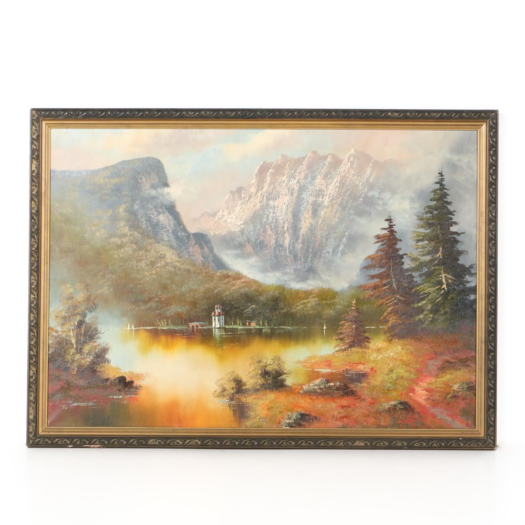 Oil Painting on Canvas of Mountain and Lake