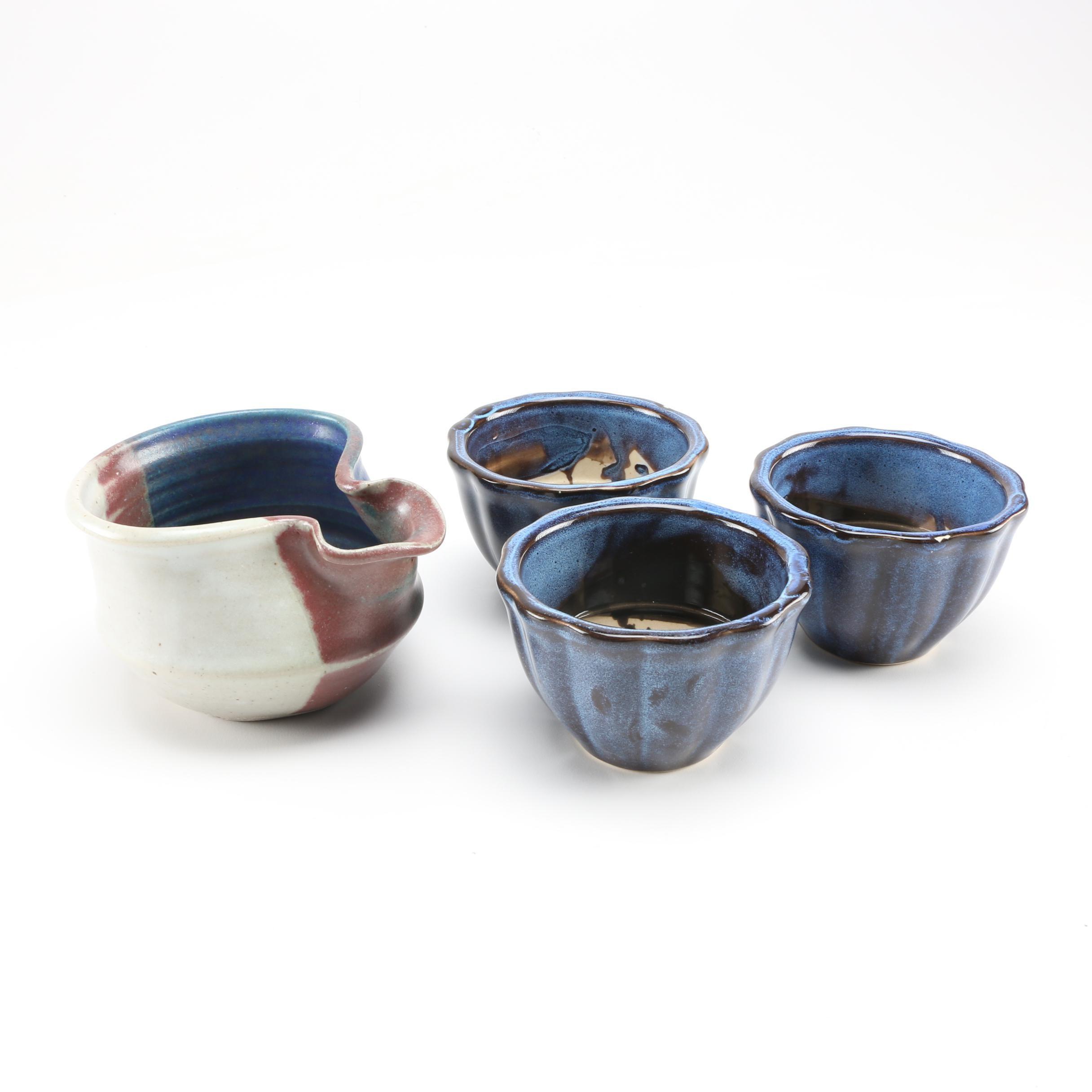 Hand Thrown Stoneware Batter Bowl and Bowl Set