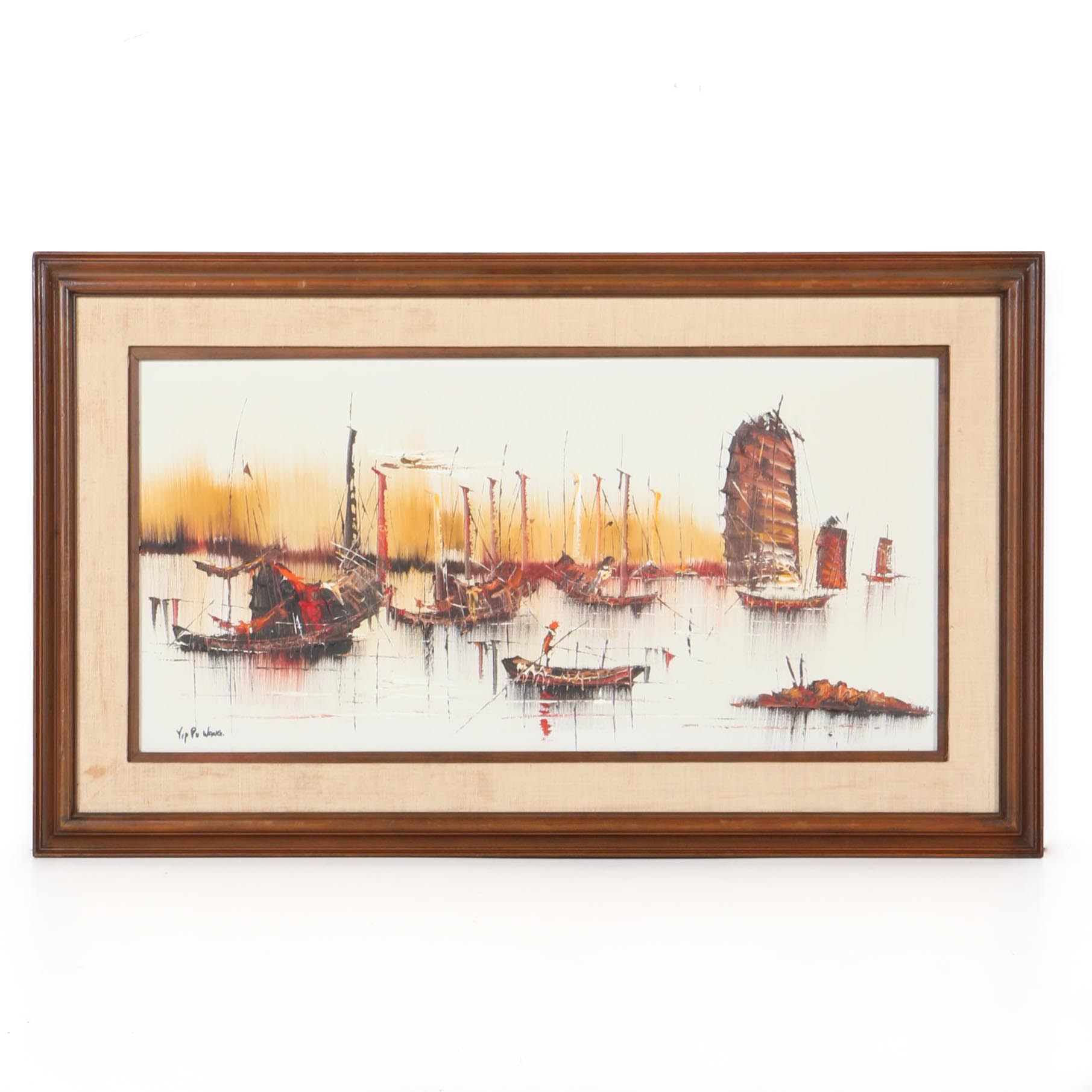 Yip Po Wang Oil Painting of Boats on the Water