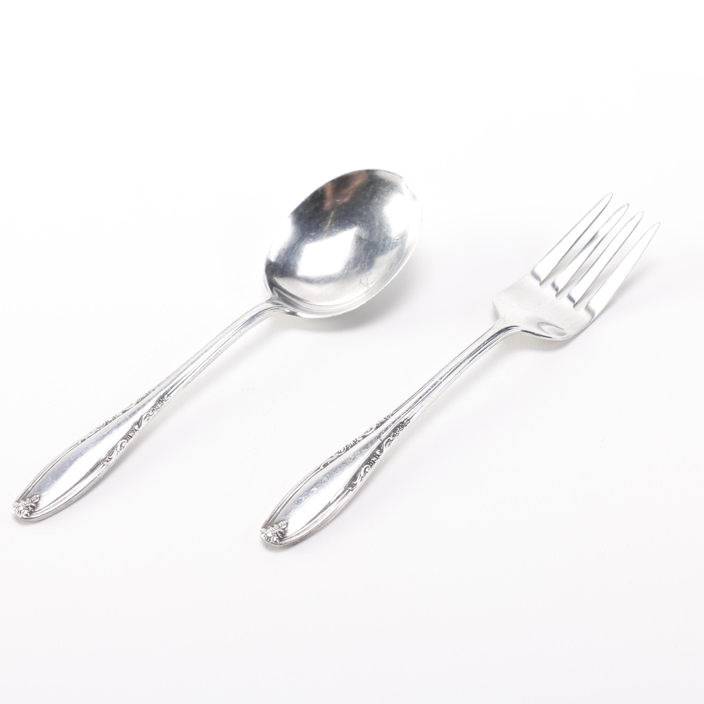 "Manchester Silver Co ""Leonore"" Sterling Silver Infant Spoon and Fork"