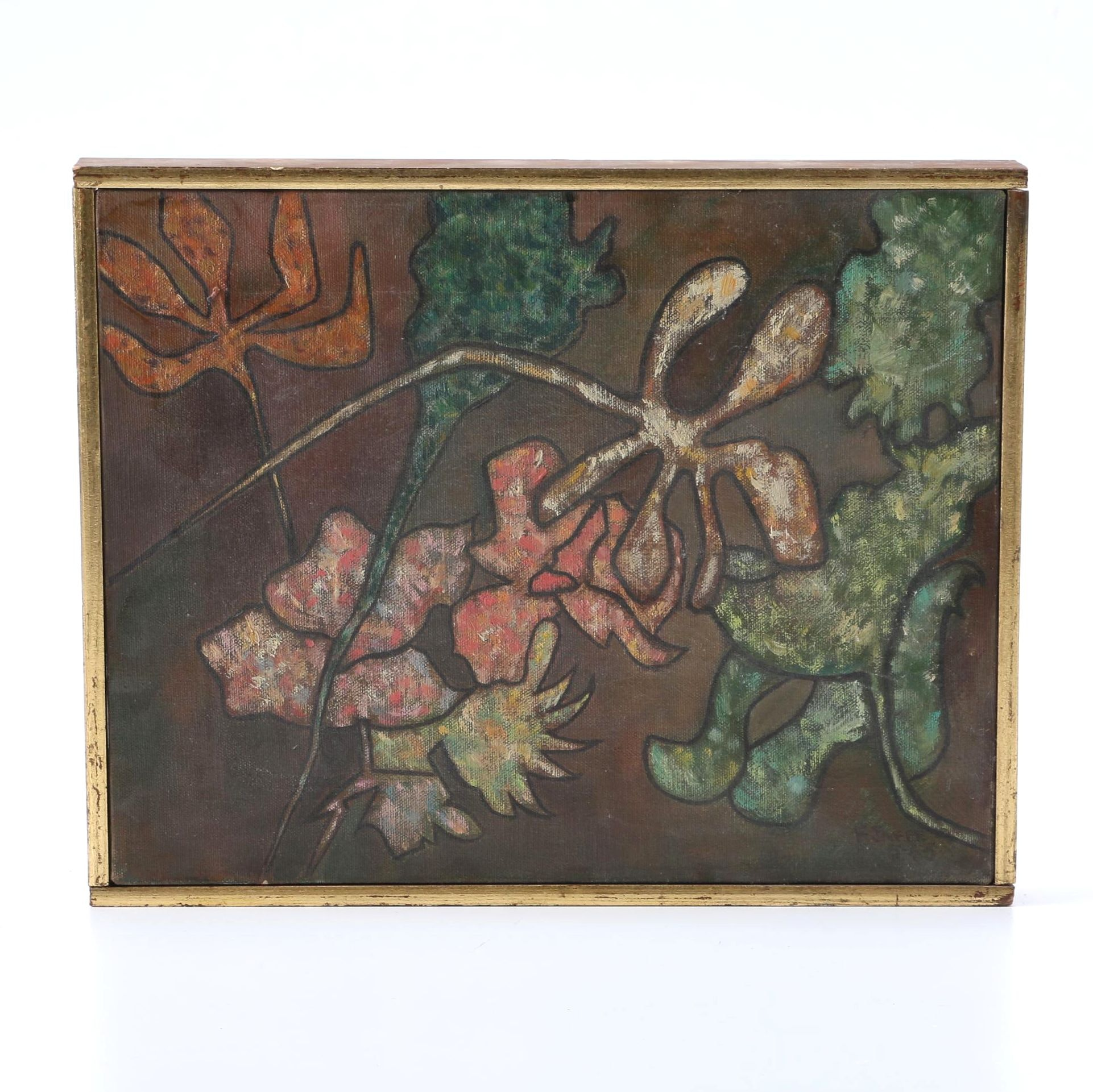 F. Jaffee Oil Painting on Canvas of Abstract Flora