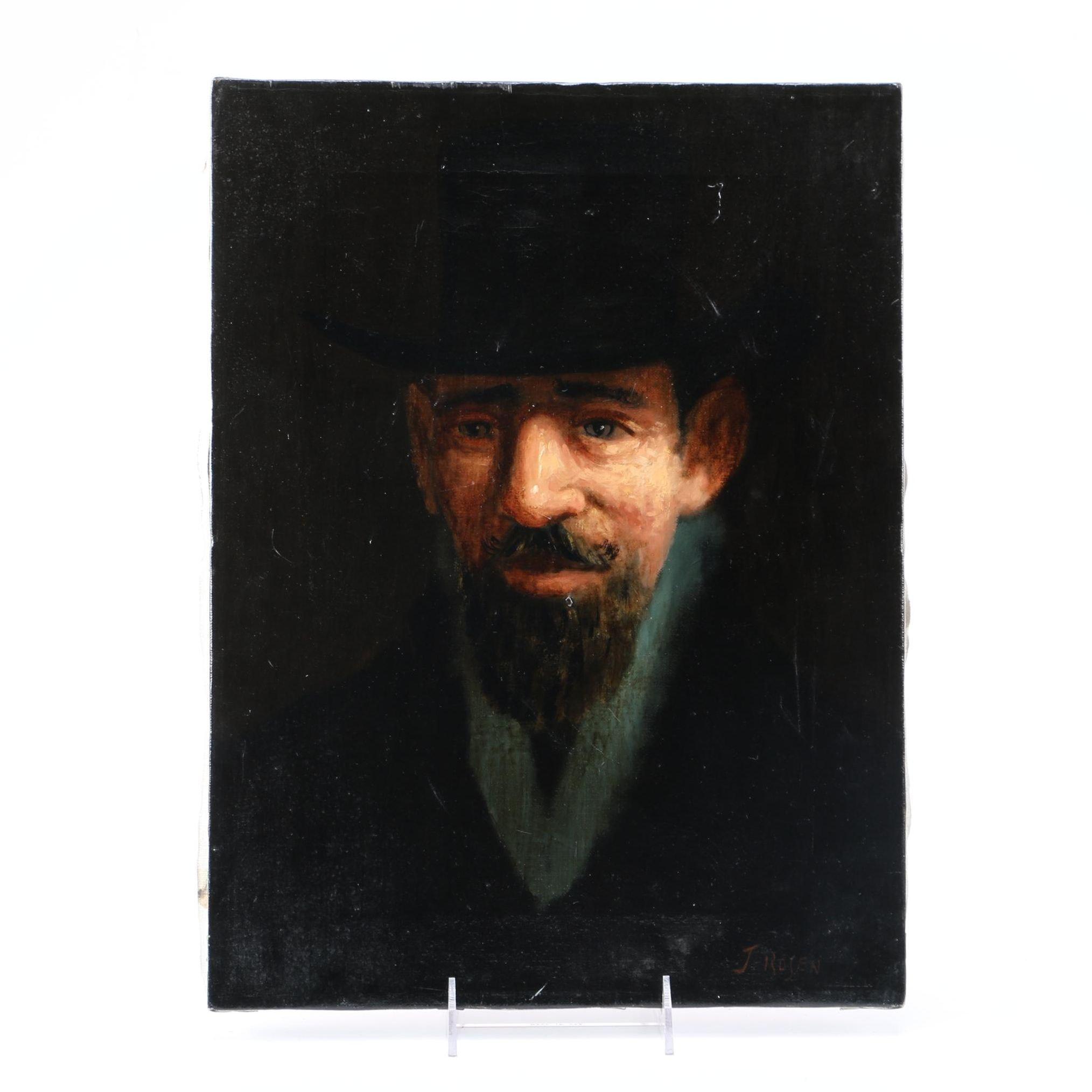 J. Rosen Oil Painting on Canvas Chiaroscuro Portrait