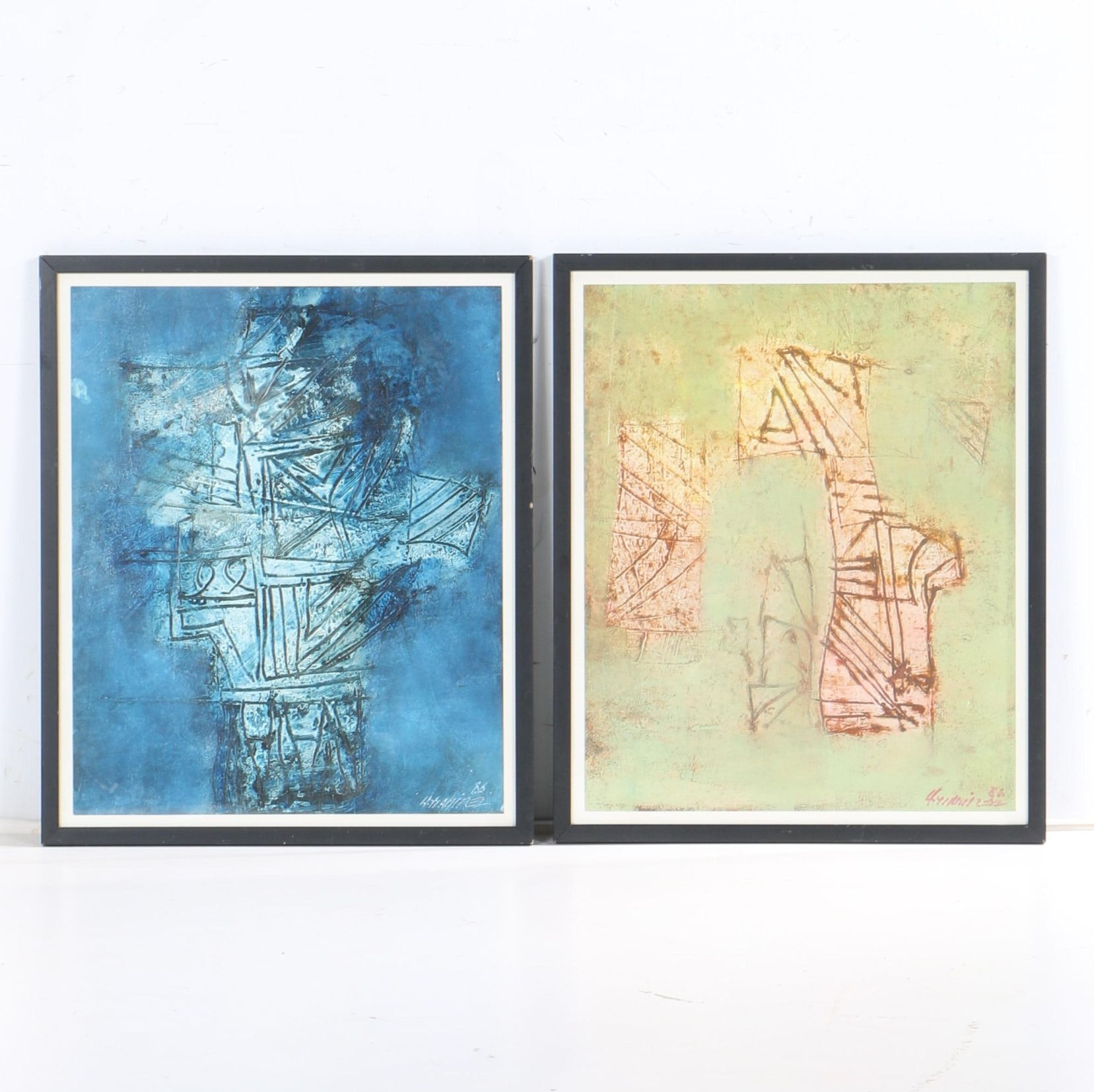 Acrylic Paintings on Paper of Abstract Composition
