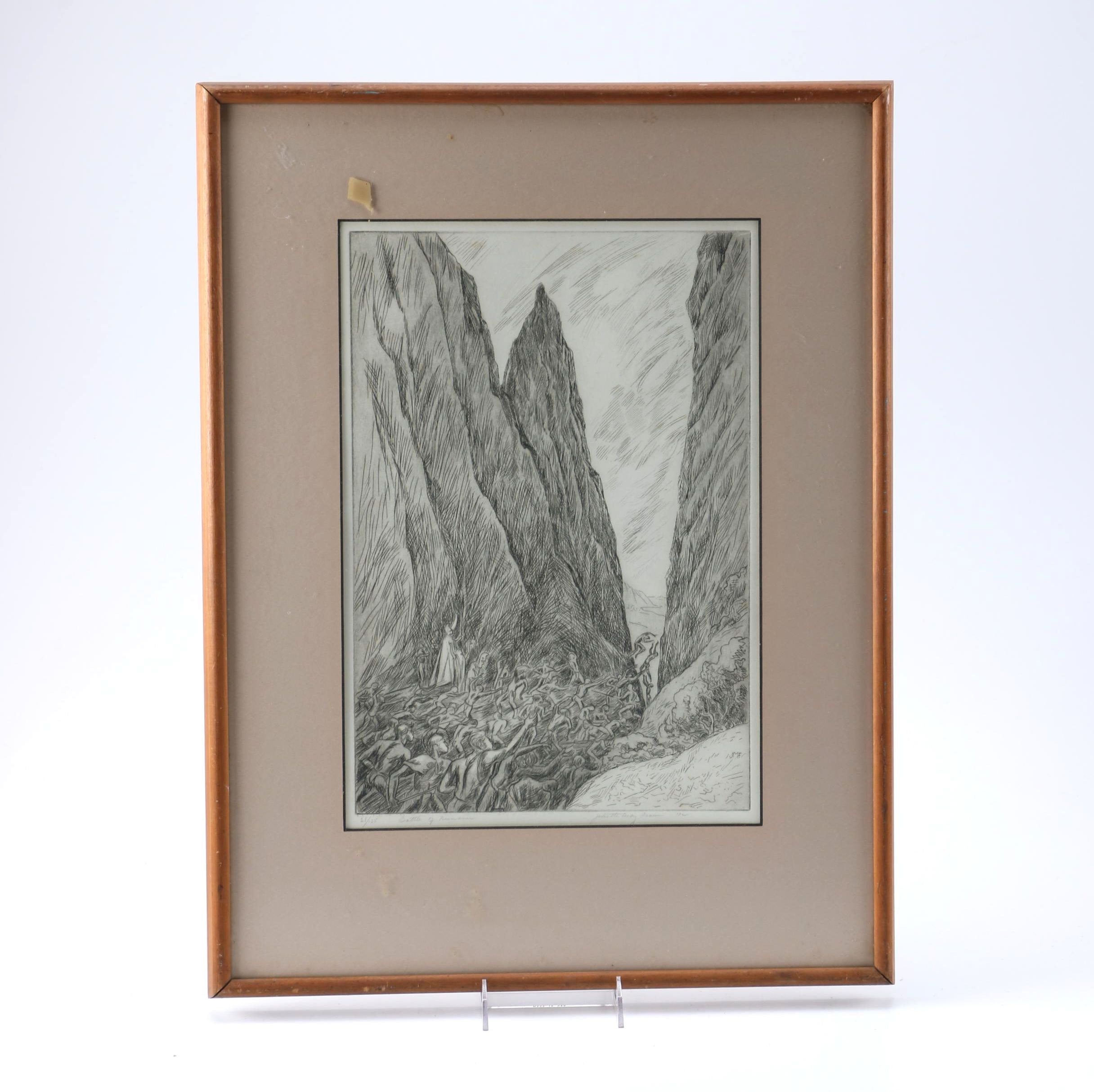 "Juliette May Fraser Limited Edition Etching ""Battle of Nunanu"""