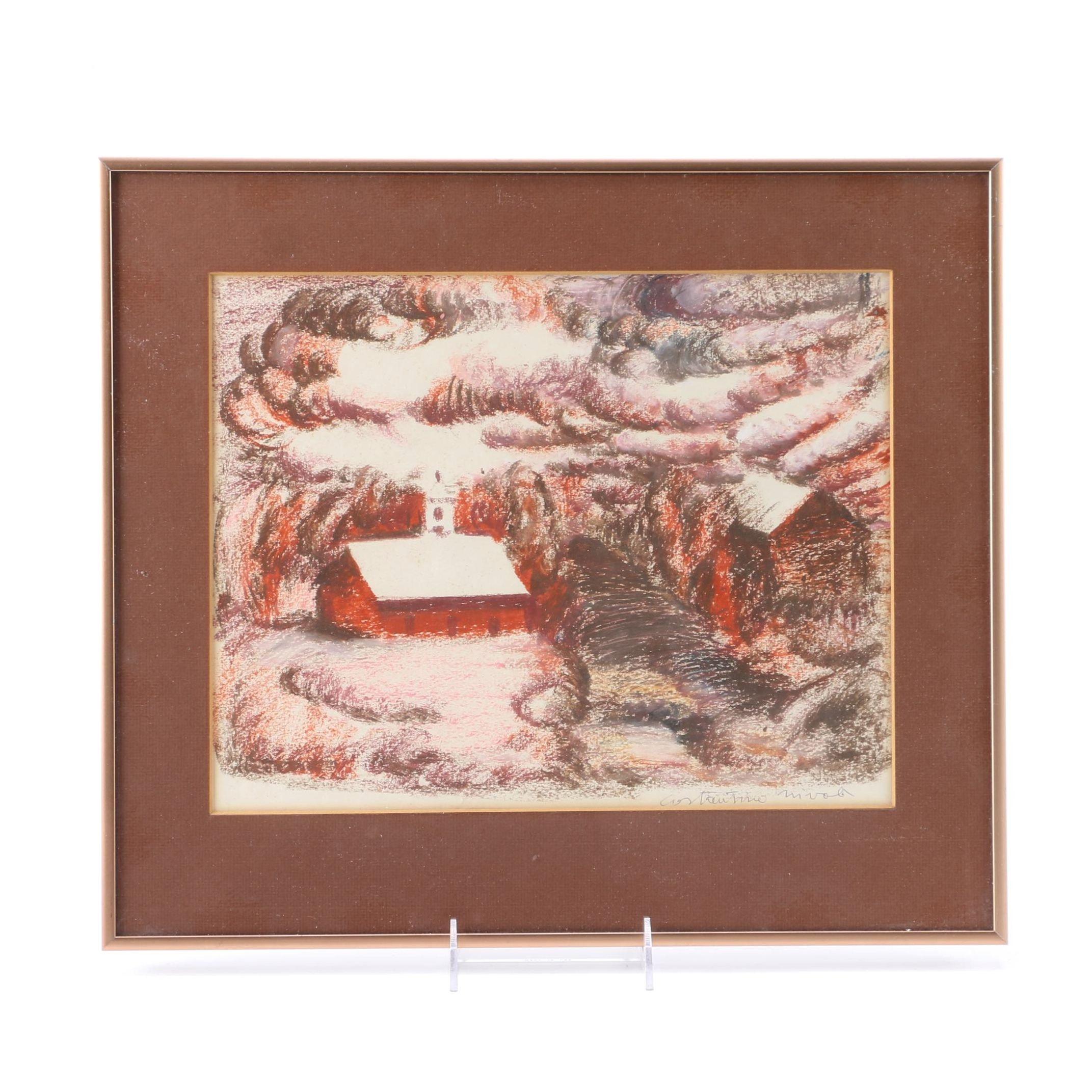 Costantino Nivola Conte Crayon Drawing of Autumn Landscape