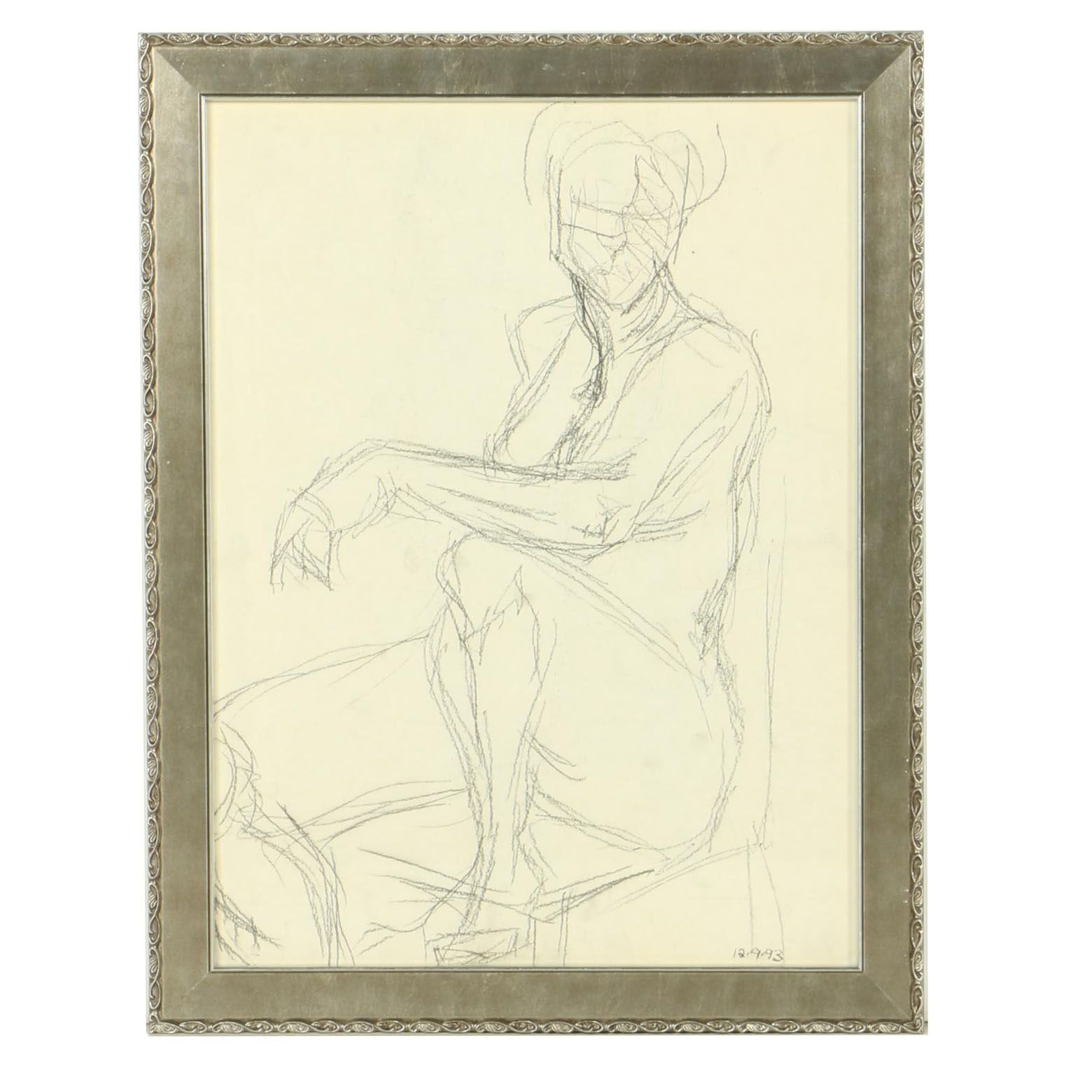 Framed Charcoal Drawing of a Seated Figure