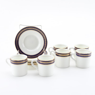 "Coalport ""Blue Wheat"" Bone China Coffee Mugs and Saucers"