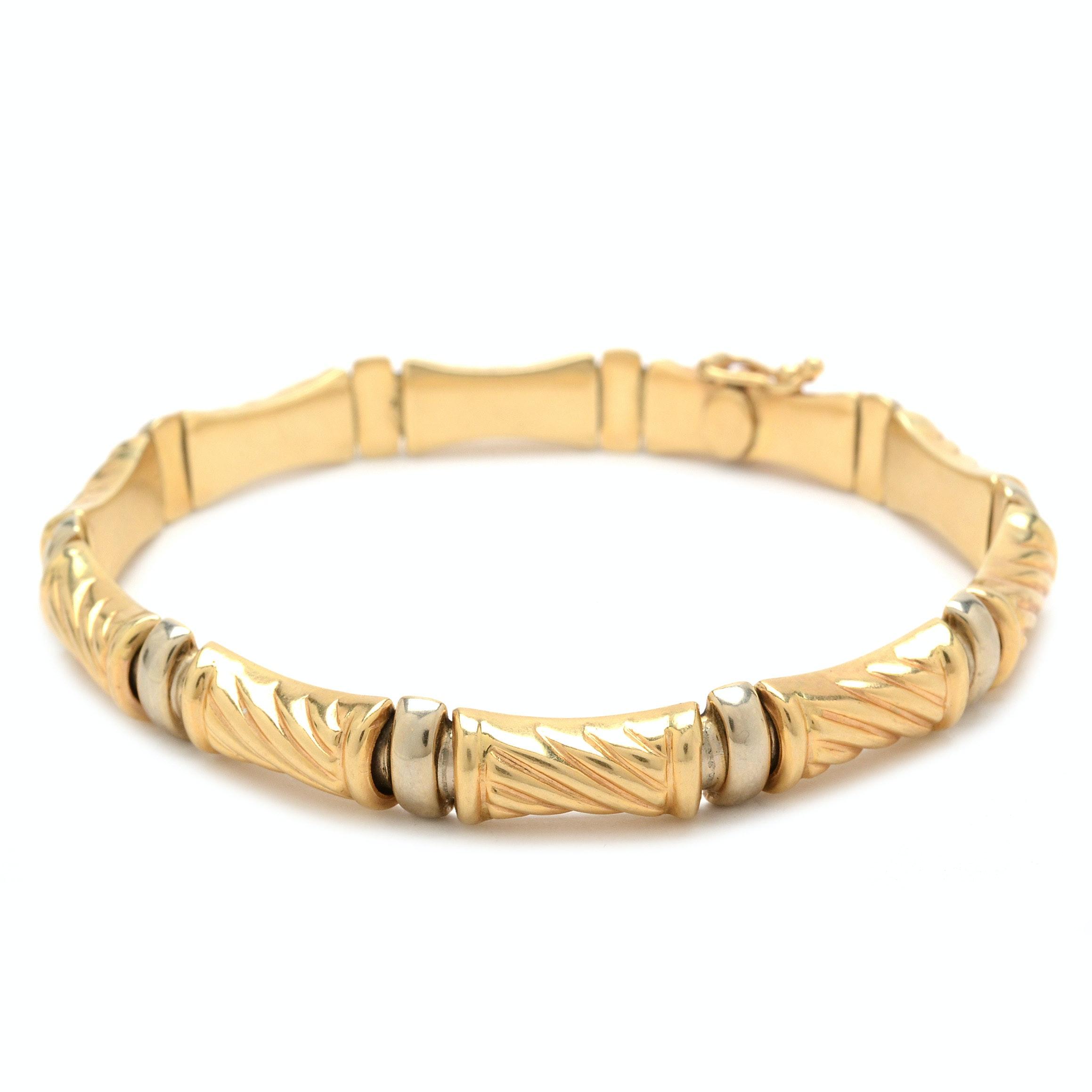 14K Two Tone Gold Link Bracelet