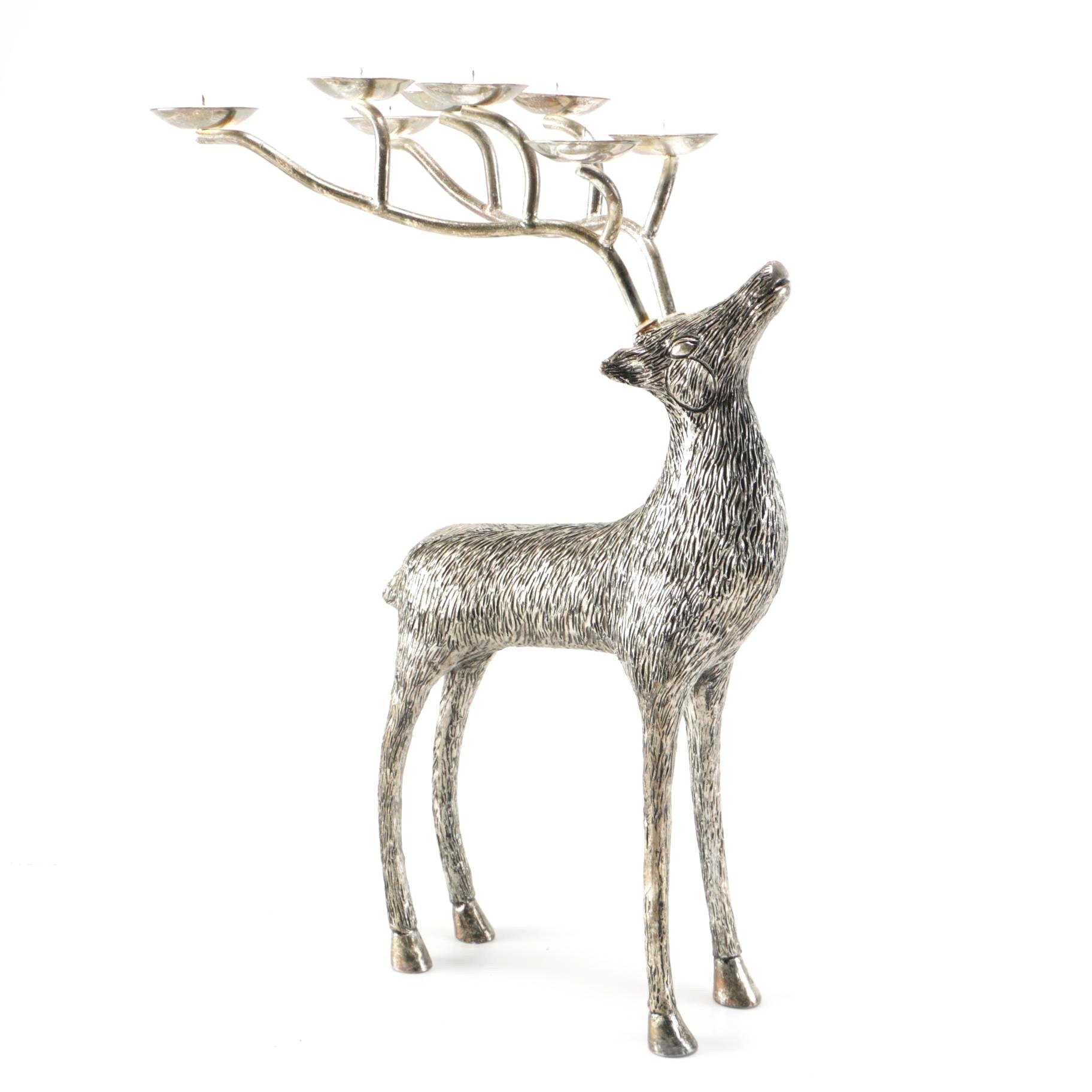 Silver Plate Reindeer Candleholder