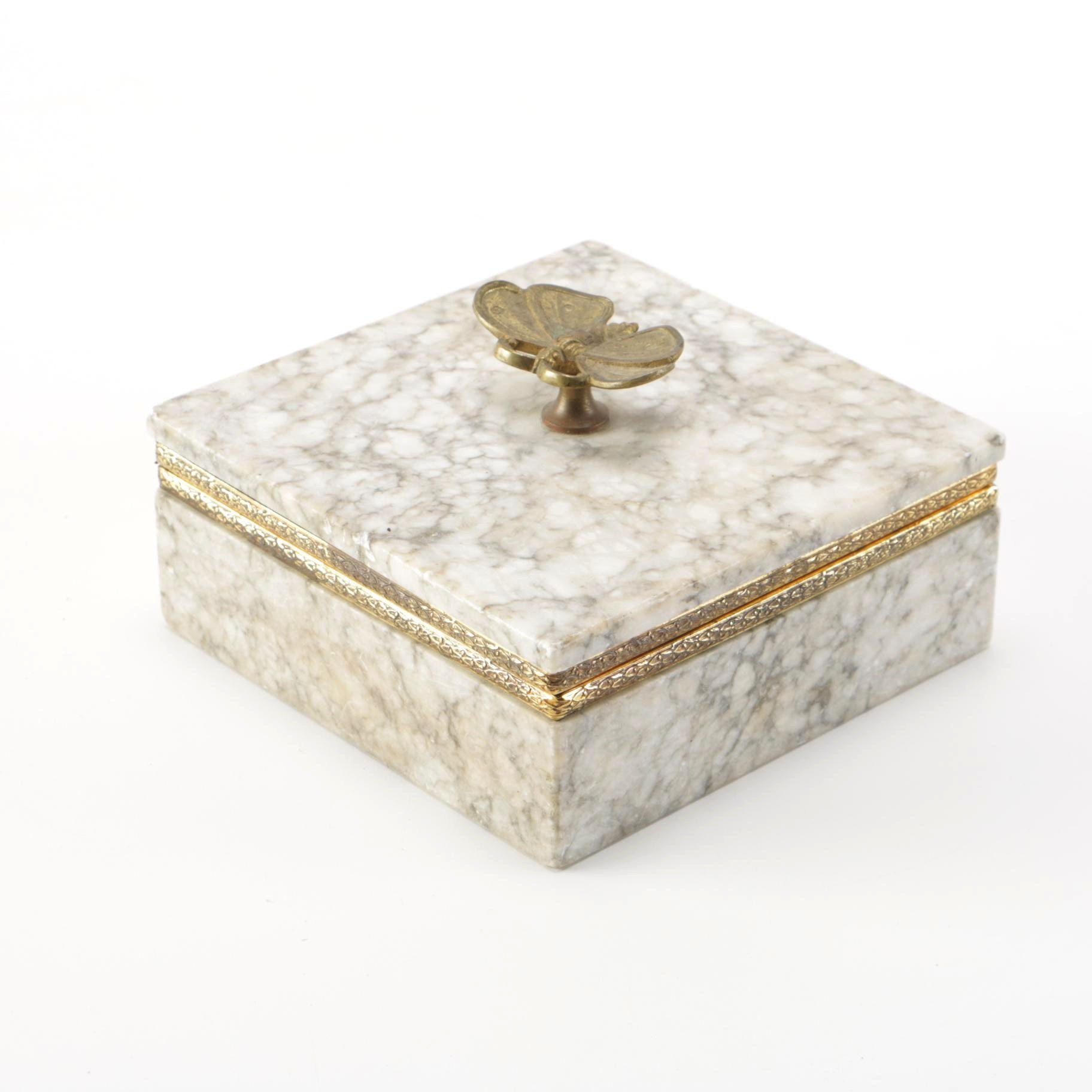 Alabaster and Brass Dragonfly Trinket Box