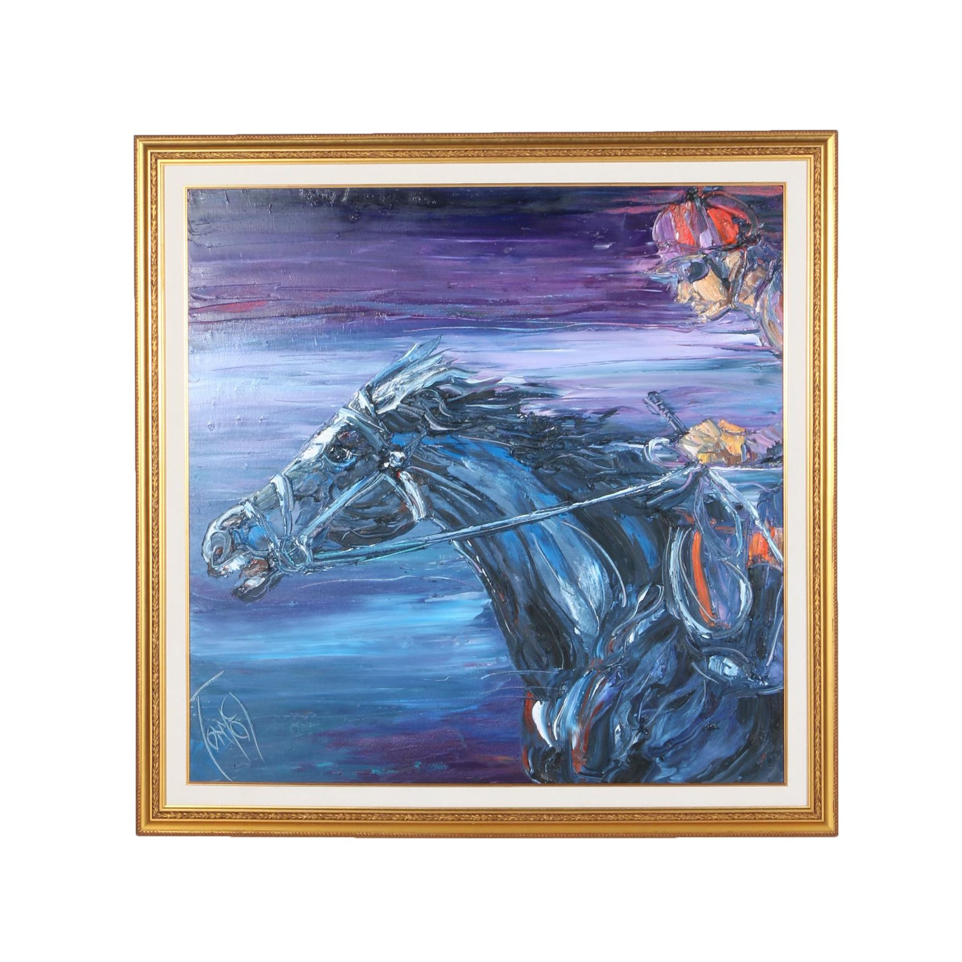 Anthony David Lee Impasto Painting on Canvas of Horse and Jockey