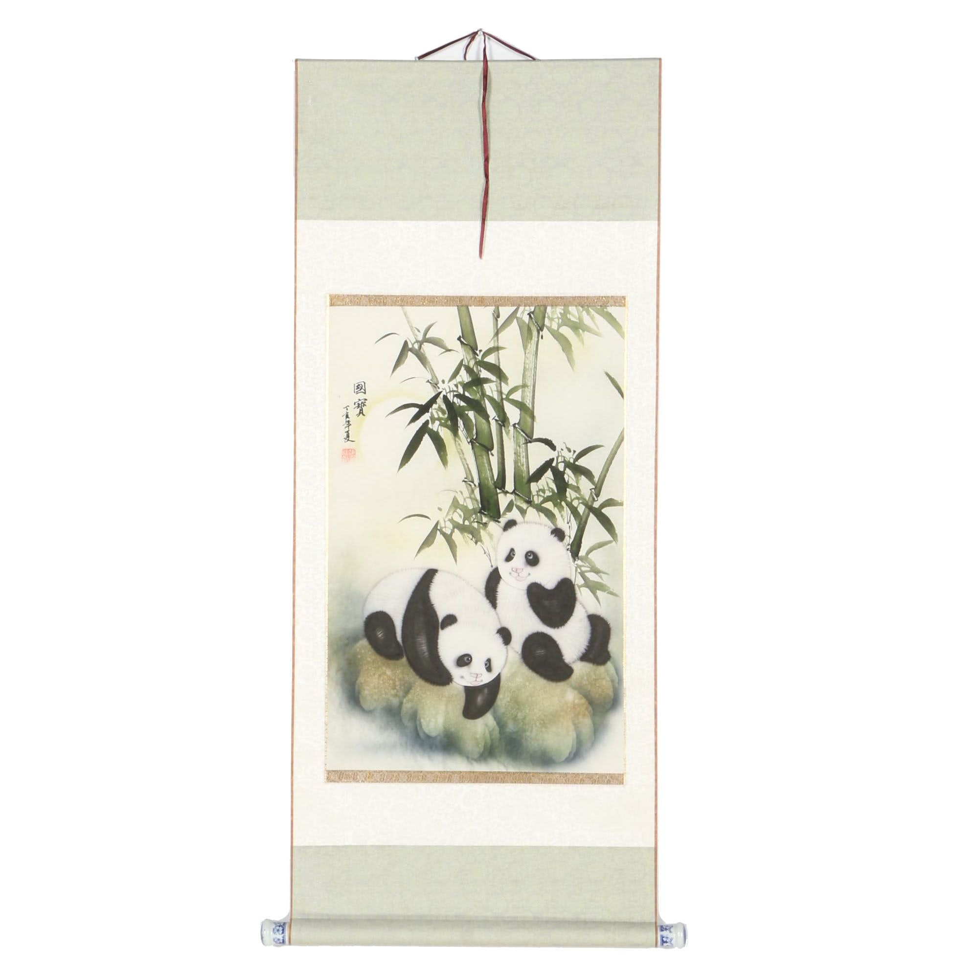 Chinese Airbrush and Watercolor Hanging Scroll Painting of Pandas