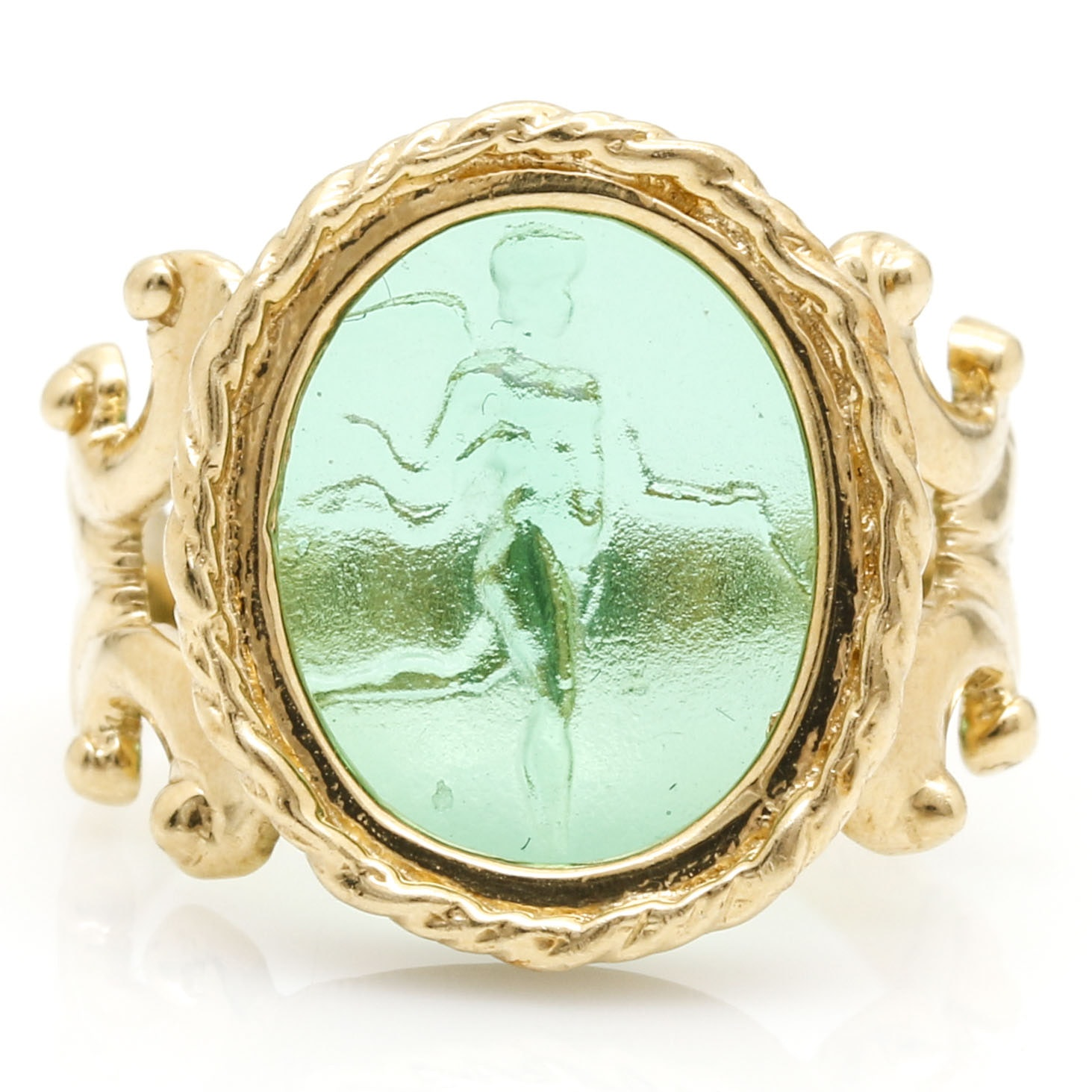 14K Yellow Gold Italian Ring with Green Glass