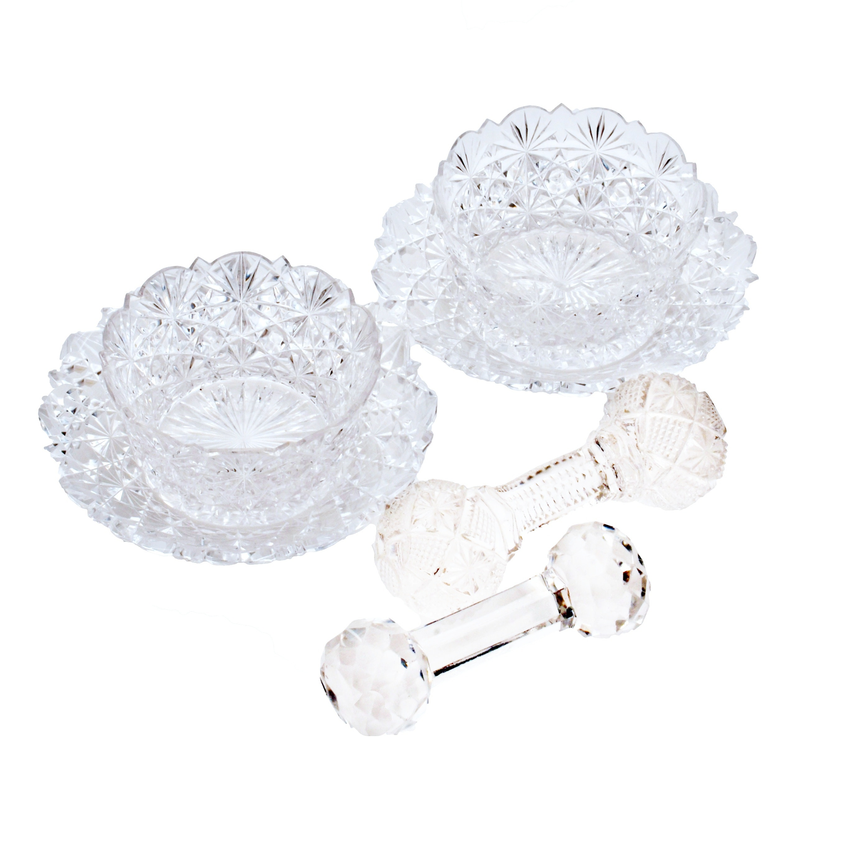 American Brilliant Style Crystal Cut Glass Sauce Cups With Rests