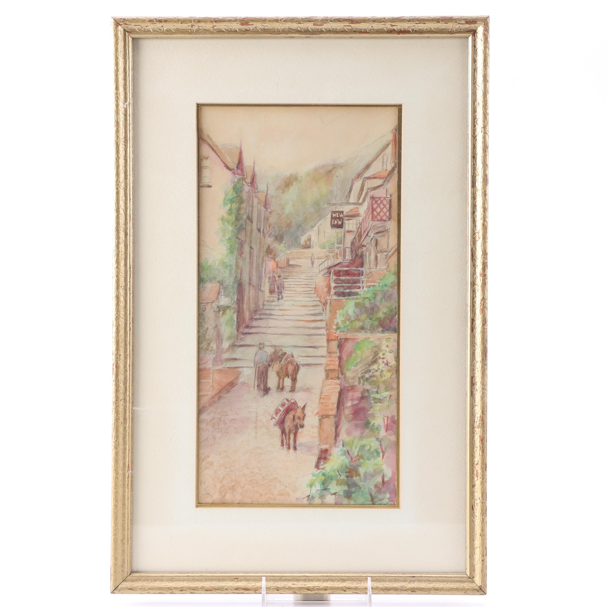 Watercolor Painting on Paper of Town Scene