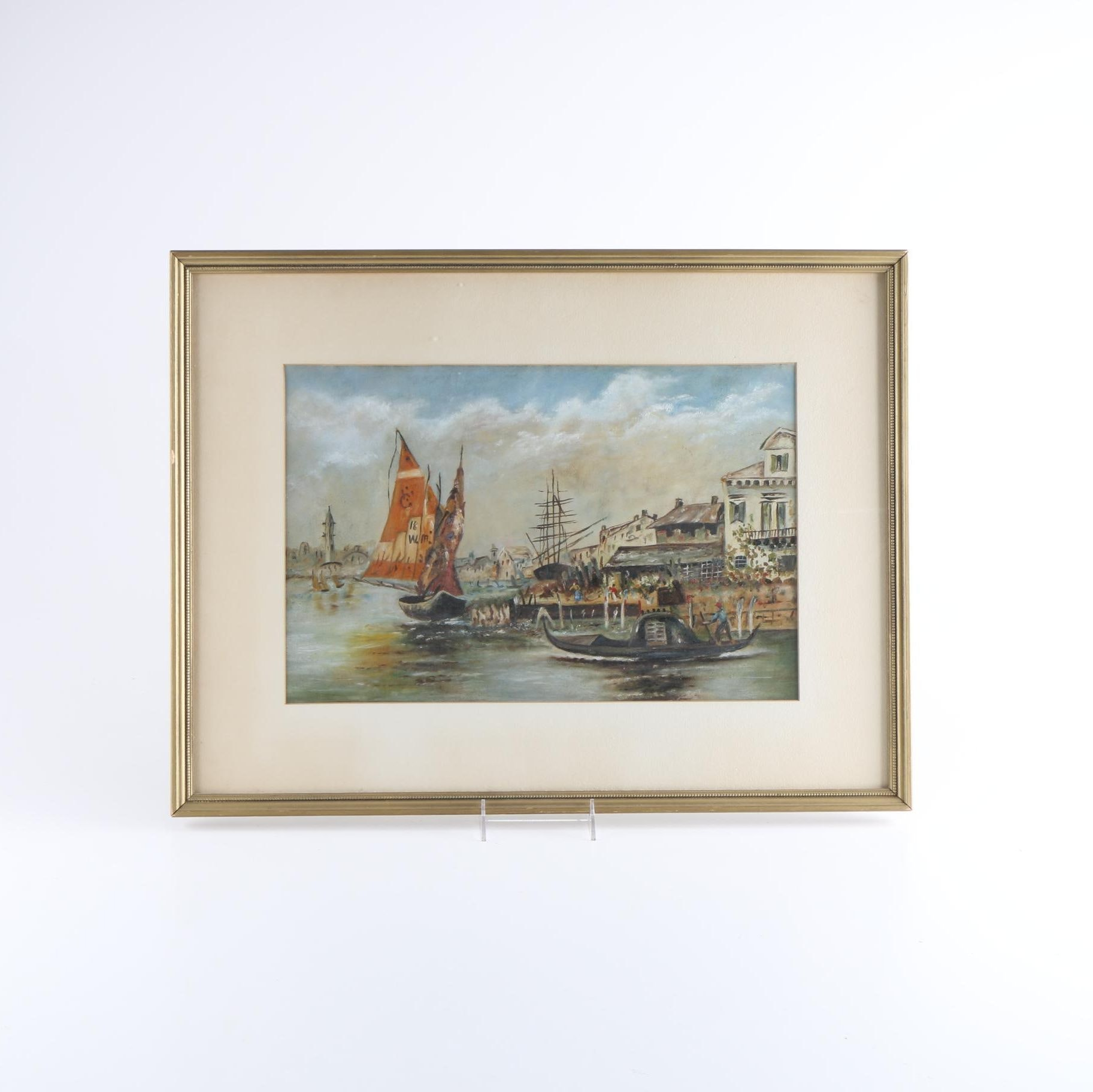 Oil Painting on Board of Harbor