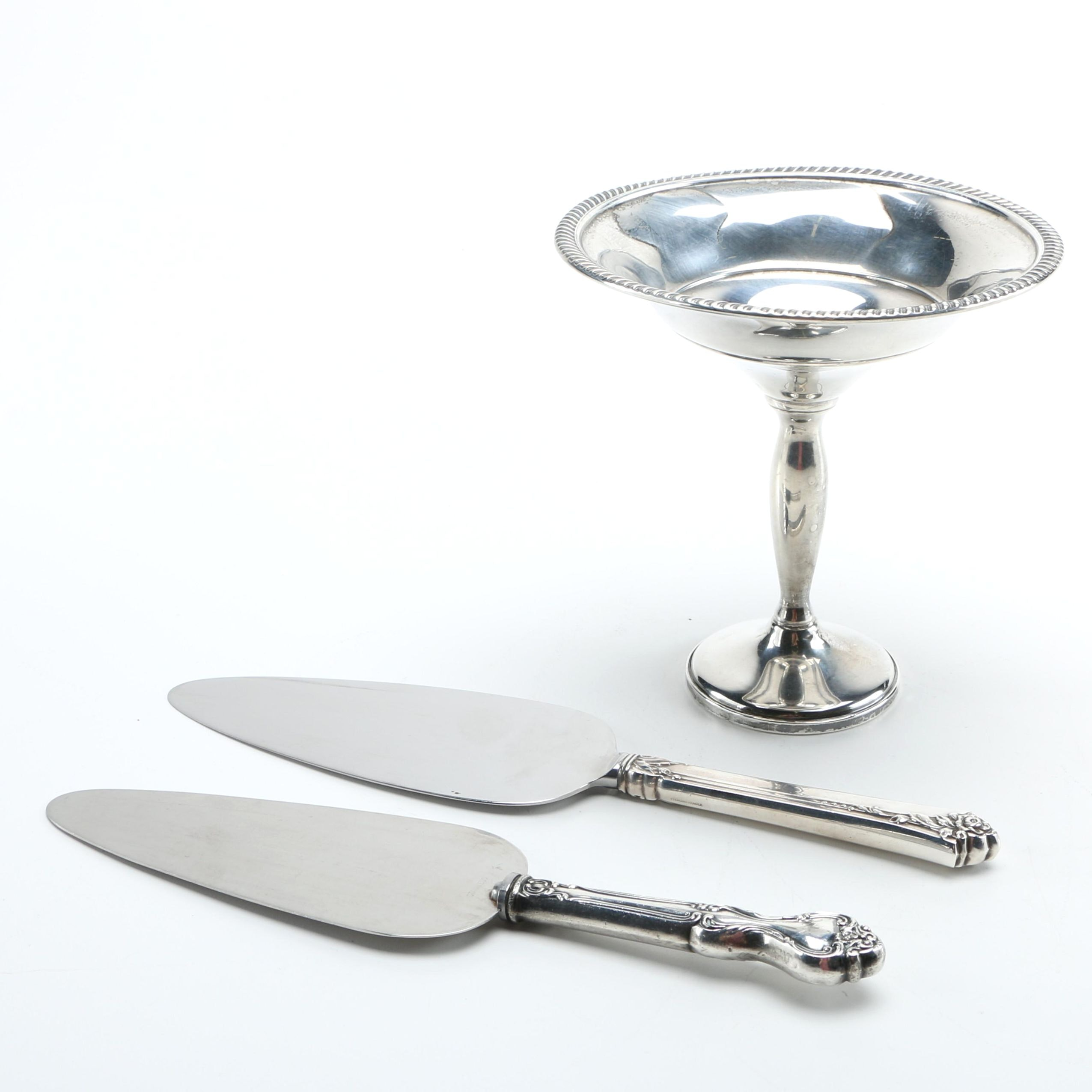 Fisher Silversmiths Weighted Sterling Compote With Pie Servers