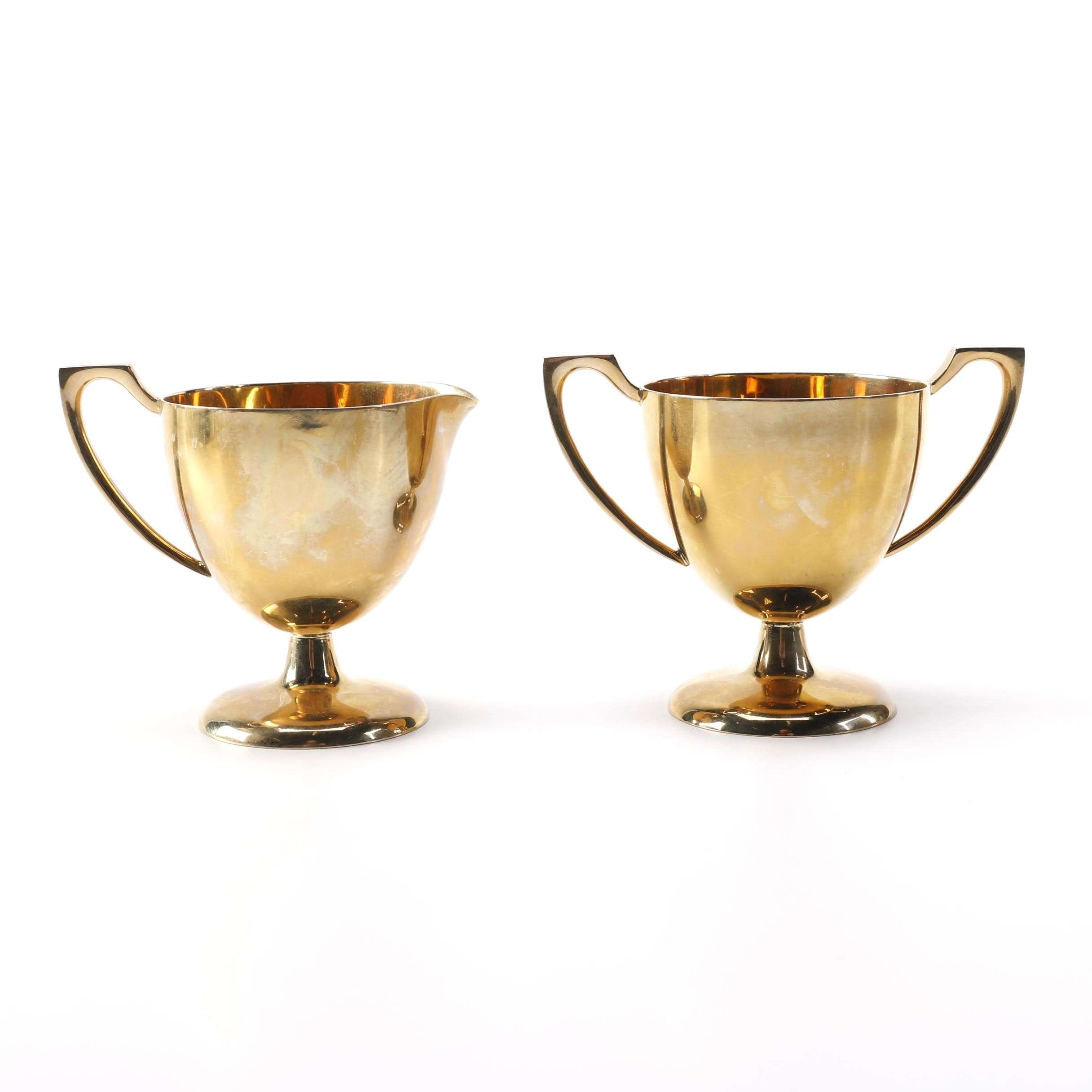 Dirilyte Electroplated Creamer and Sugar Bowl