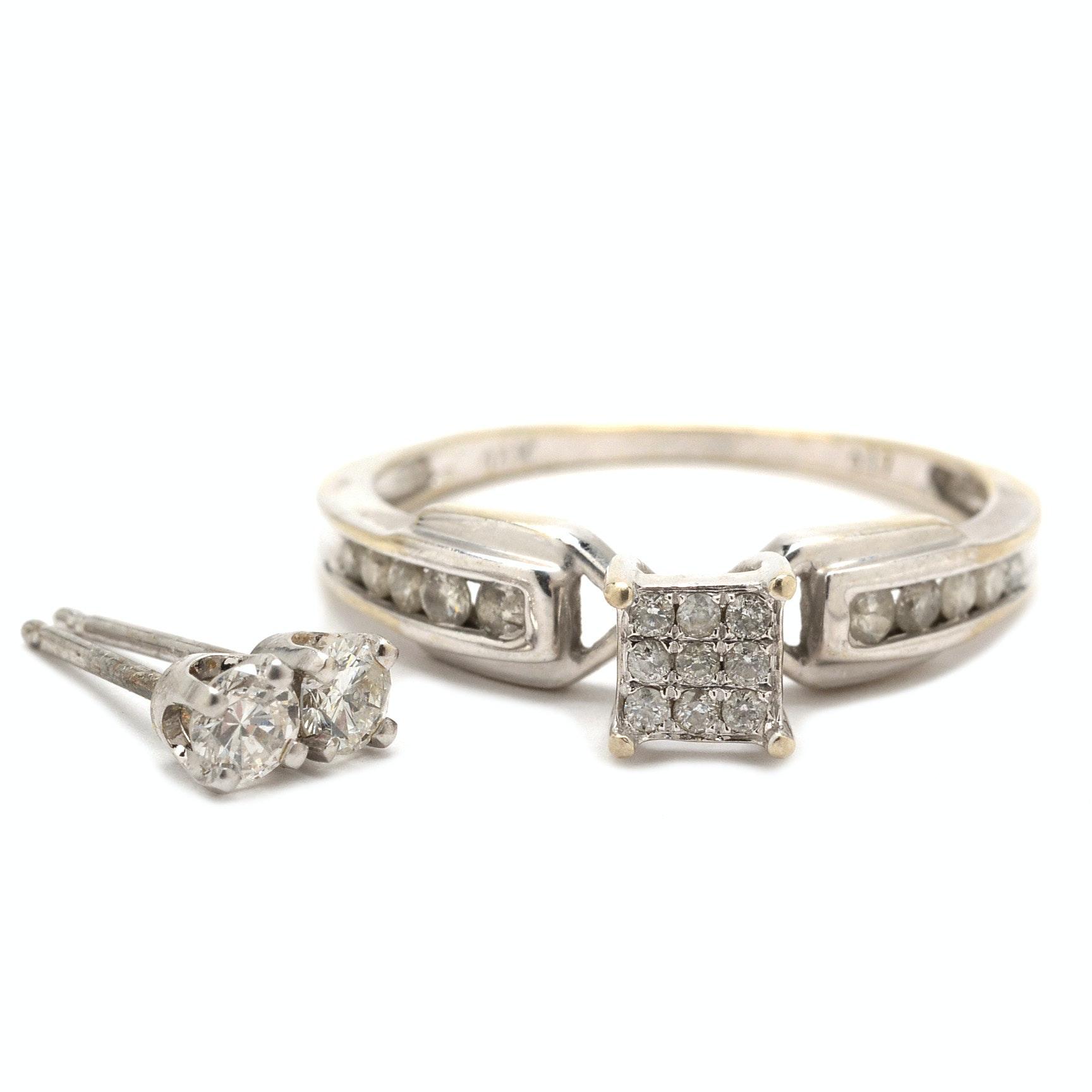 14K White Gold Diamond Ring and Earrings