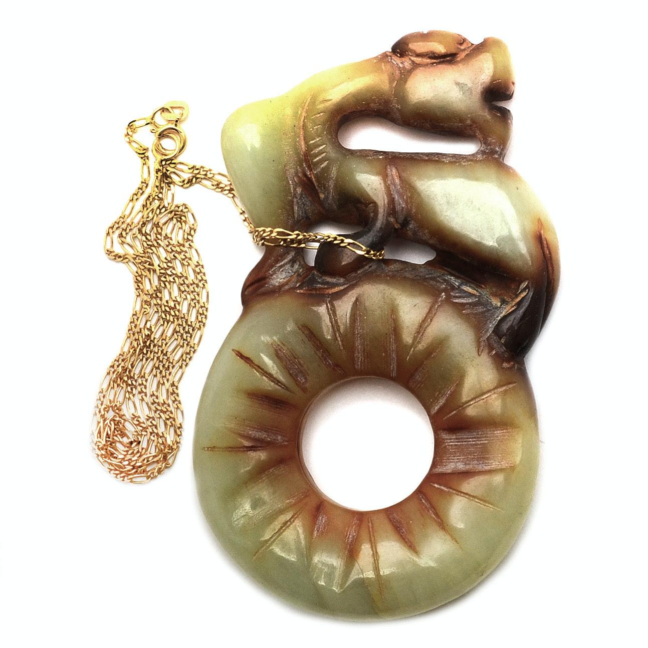 Serpentine Netsuke With 14K Yellow Gold Chain