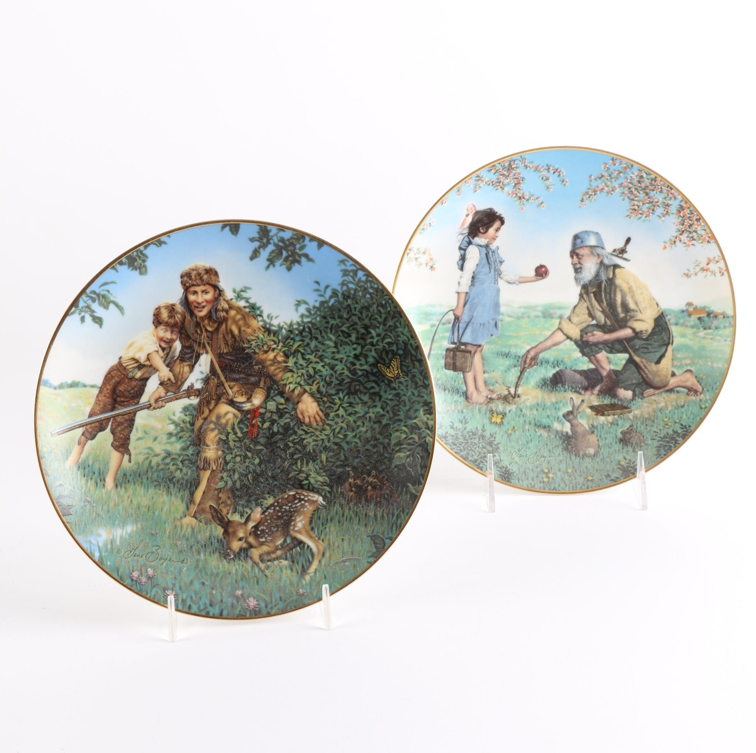 """Pair of """"American Folk Heroes"""" Crown Parian Porcelain Collectible Plates"""