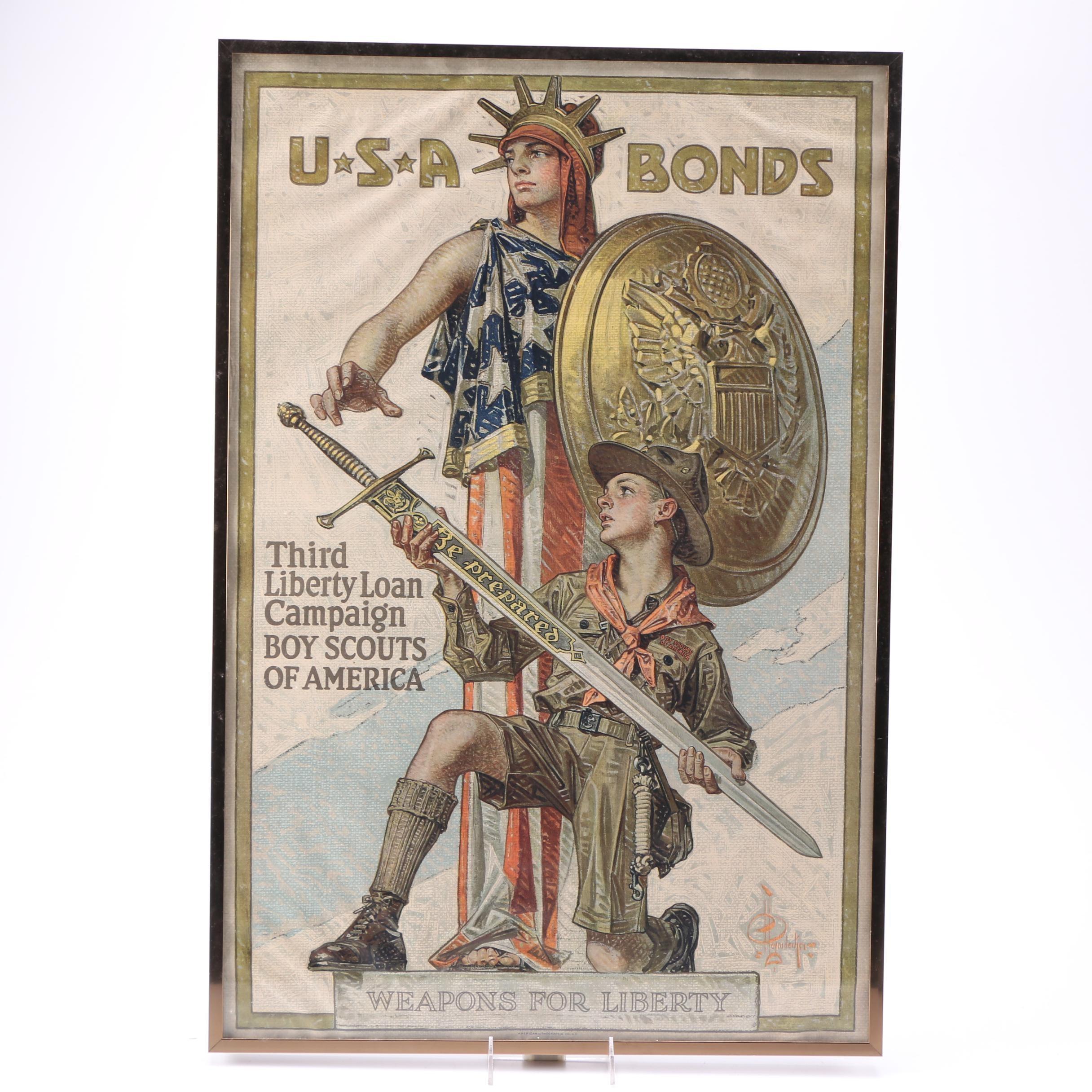 "J. C. Leyendecker ""U.S.A Bonds"" WWI War Bonds Poster"