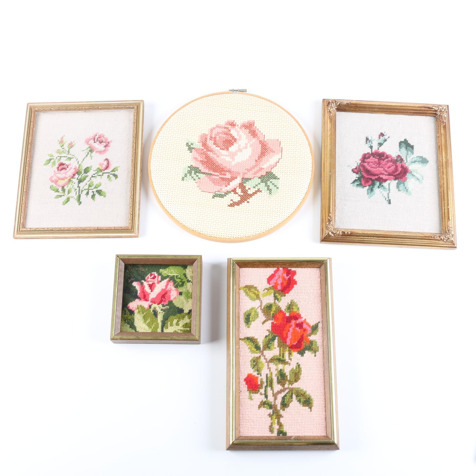 Floral Cross Stitch and Embroidered Pieces