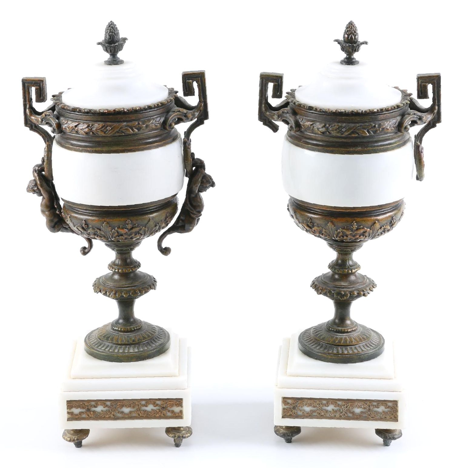 Pair of White Marble Urns