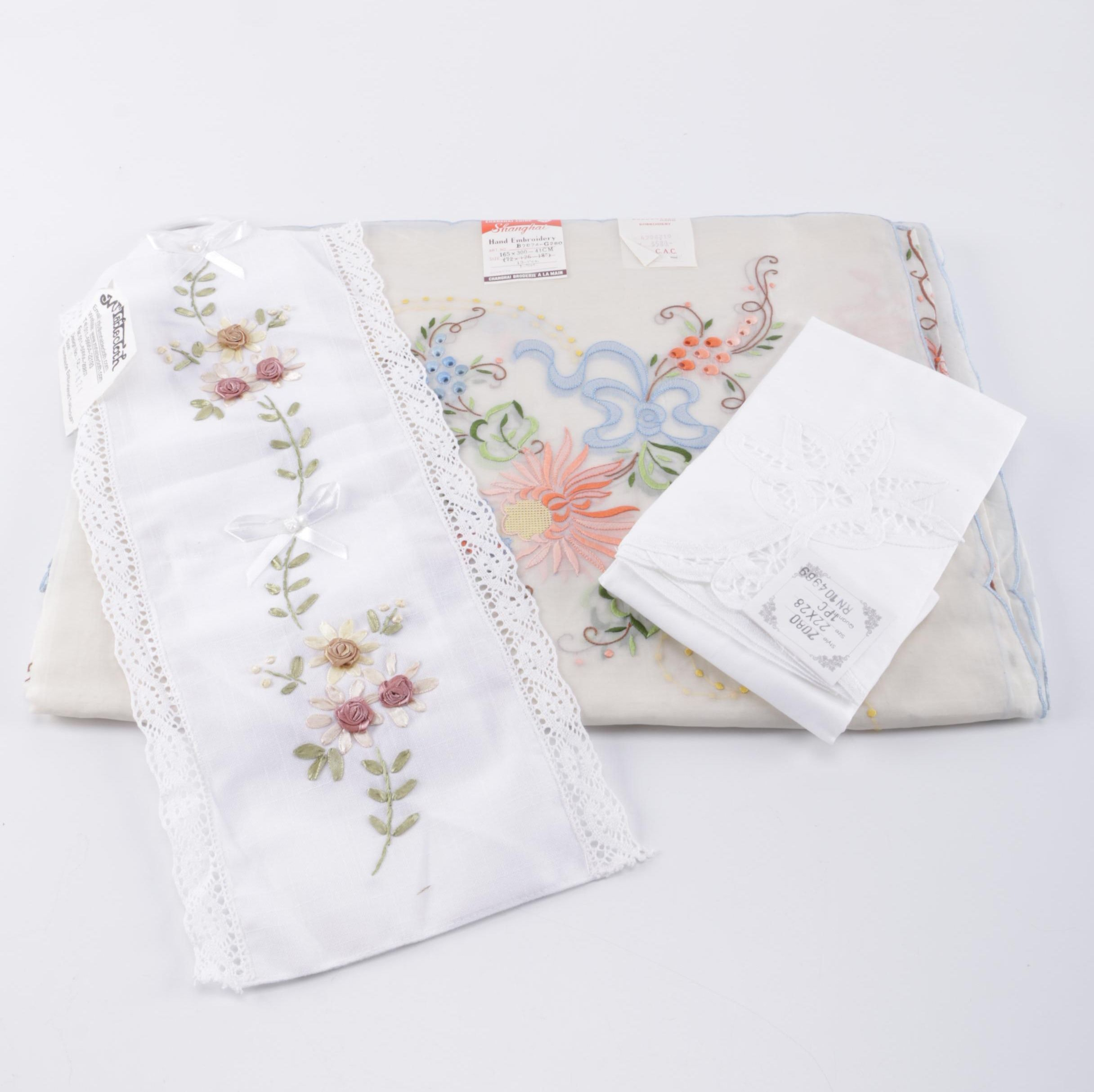Vintage Linens With Embroidery and Lace