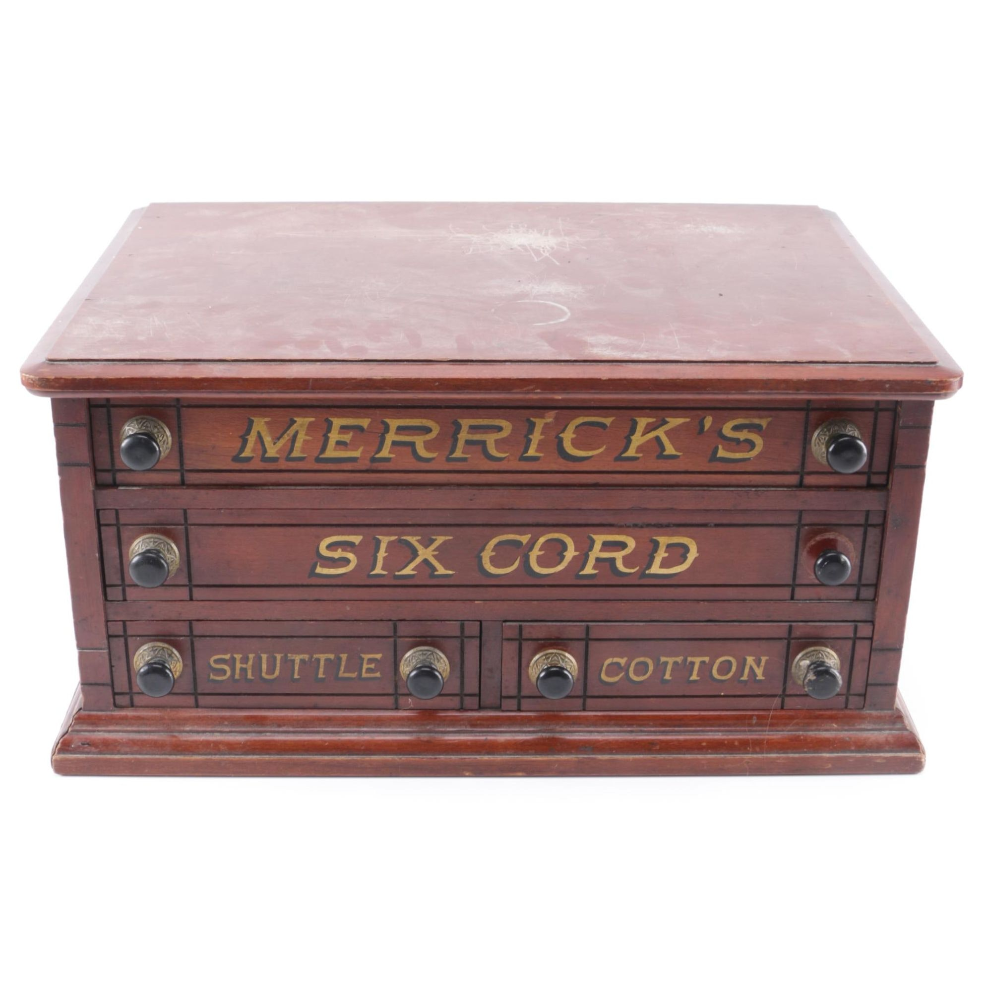 Antique Pine Merrick's Six Cord Shuttle Cotton Storage Box