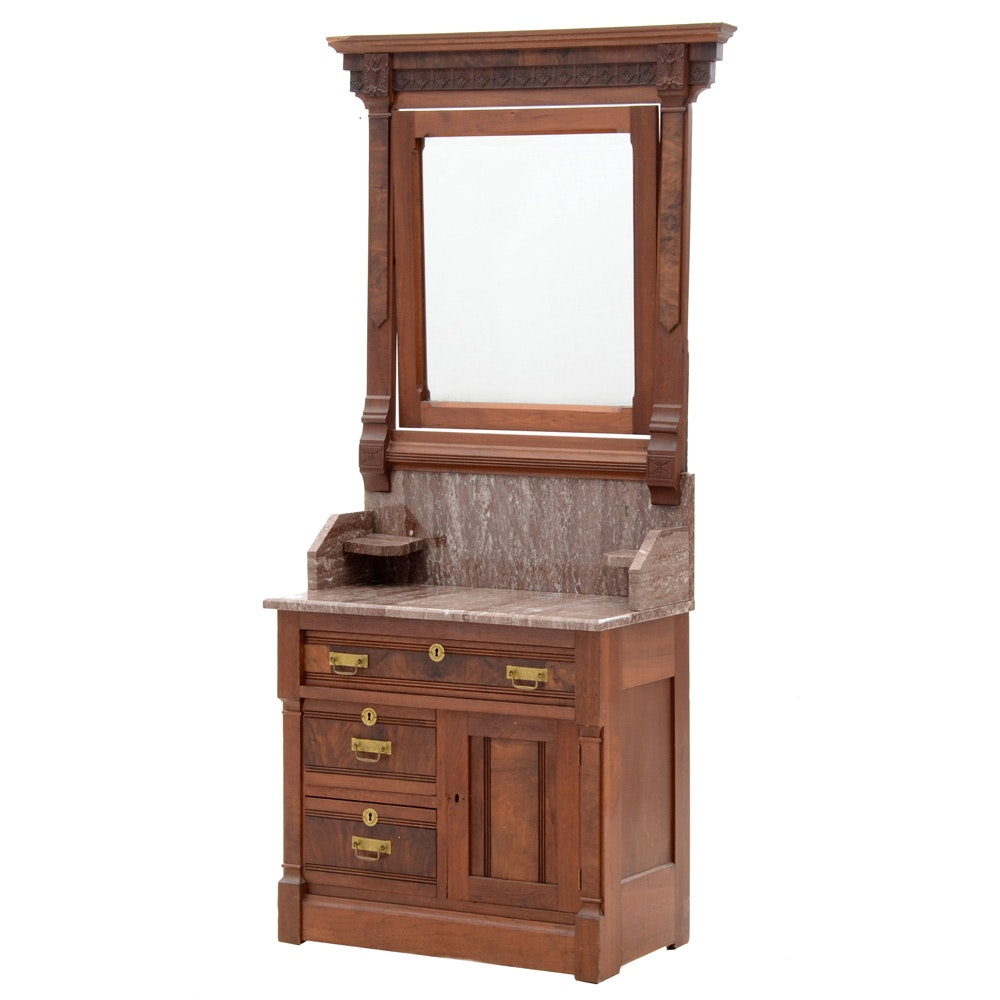Antique Marble Top Washstand with Mirror