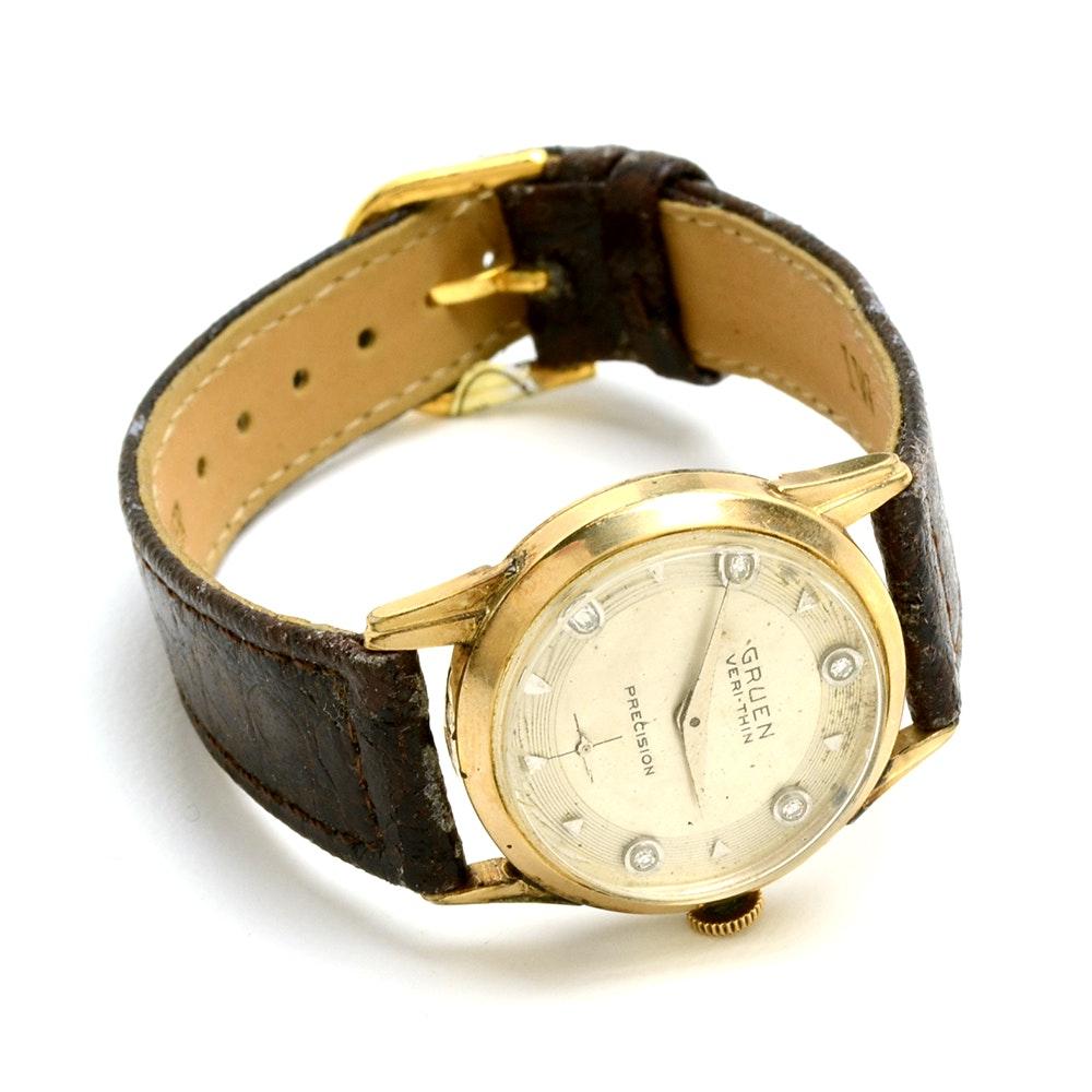 Vintage Gruen Veri-Thin Precision 10K Gold Filled Diamond Wristwatch