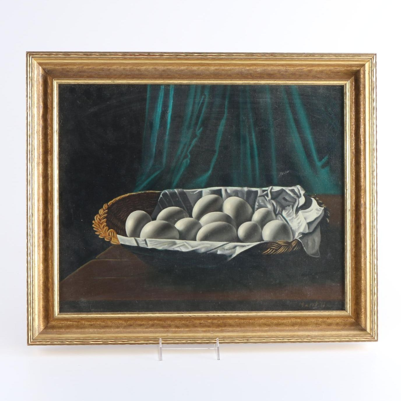 1967 Oil Painting on Canvas of a Still Life of Eggs in a Basket