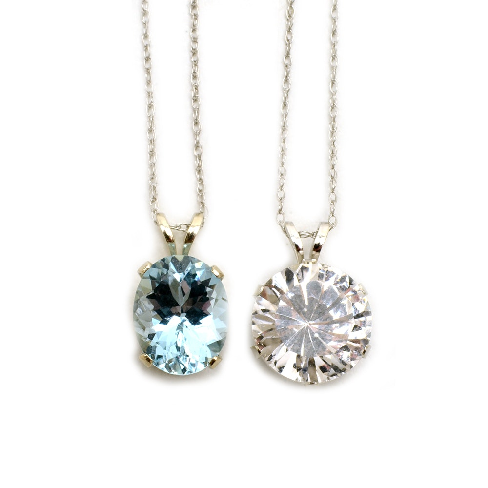14K White Gold Aquamarine and White Topaz Necklaces