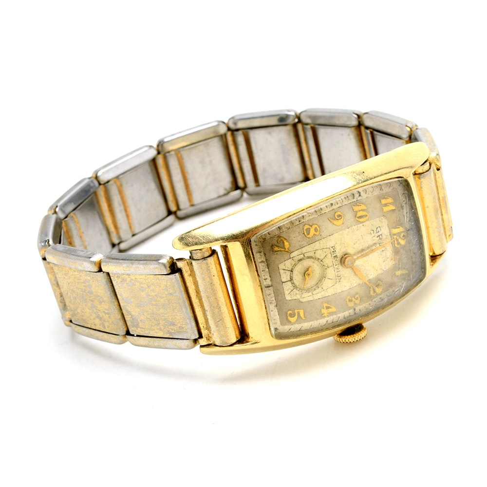 Vintage 14K Yellow Gold Gruen Curvex Precision Wristwatch