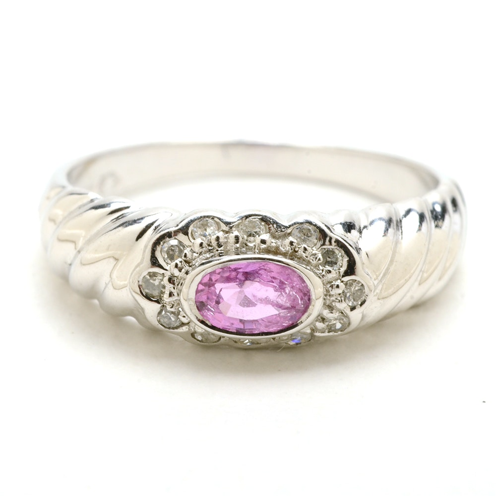14K White Gold Natural Pink Sapphire Diamond Ring