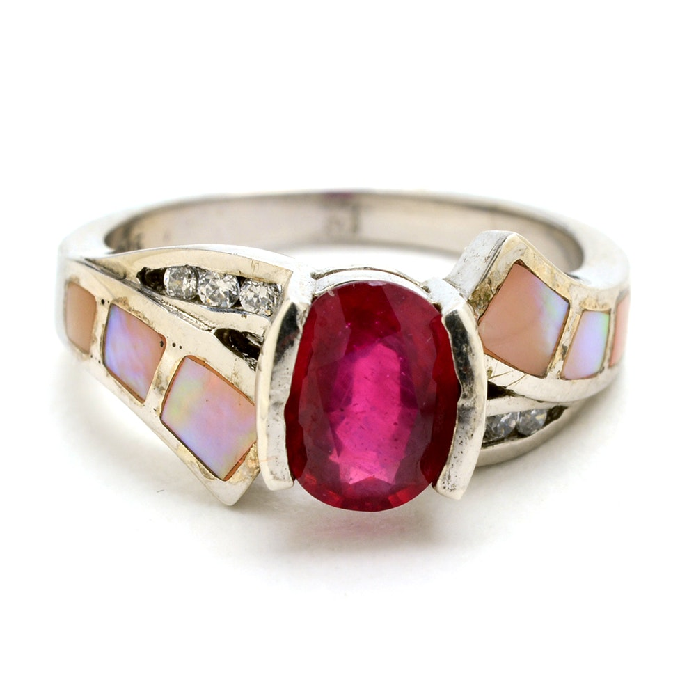 Sterling Silver Ruby and Mother of Pearl Ring