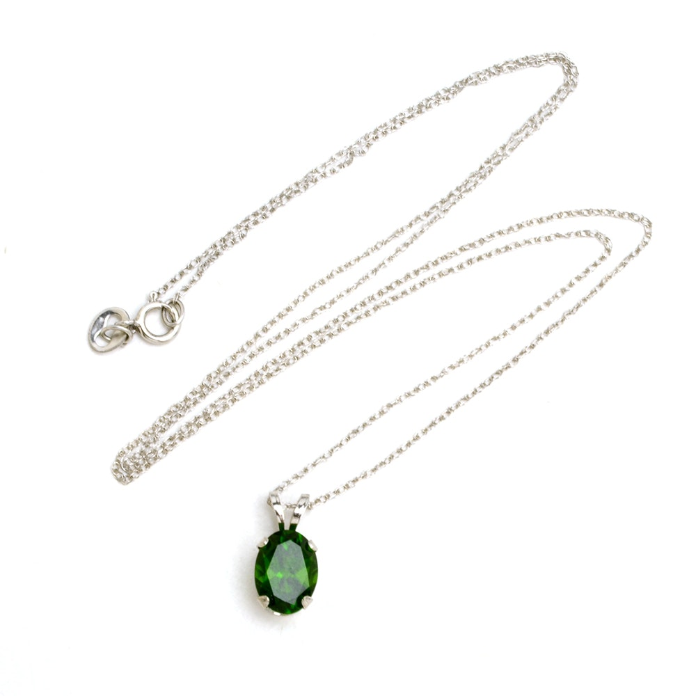 14K White Gold Chrome Diopside Solitaire Pendant Necklace
