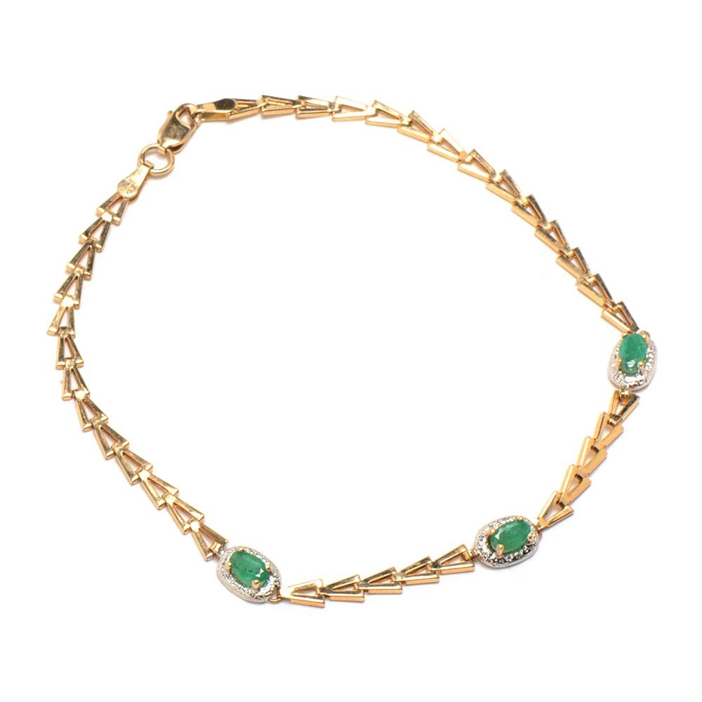 14K Yellow Gold Emerald Bracelet
