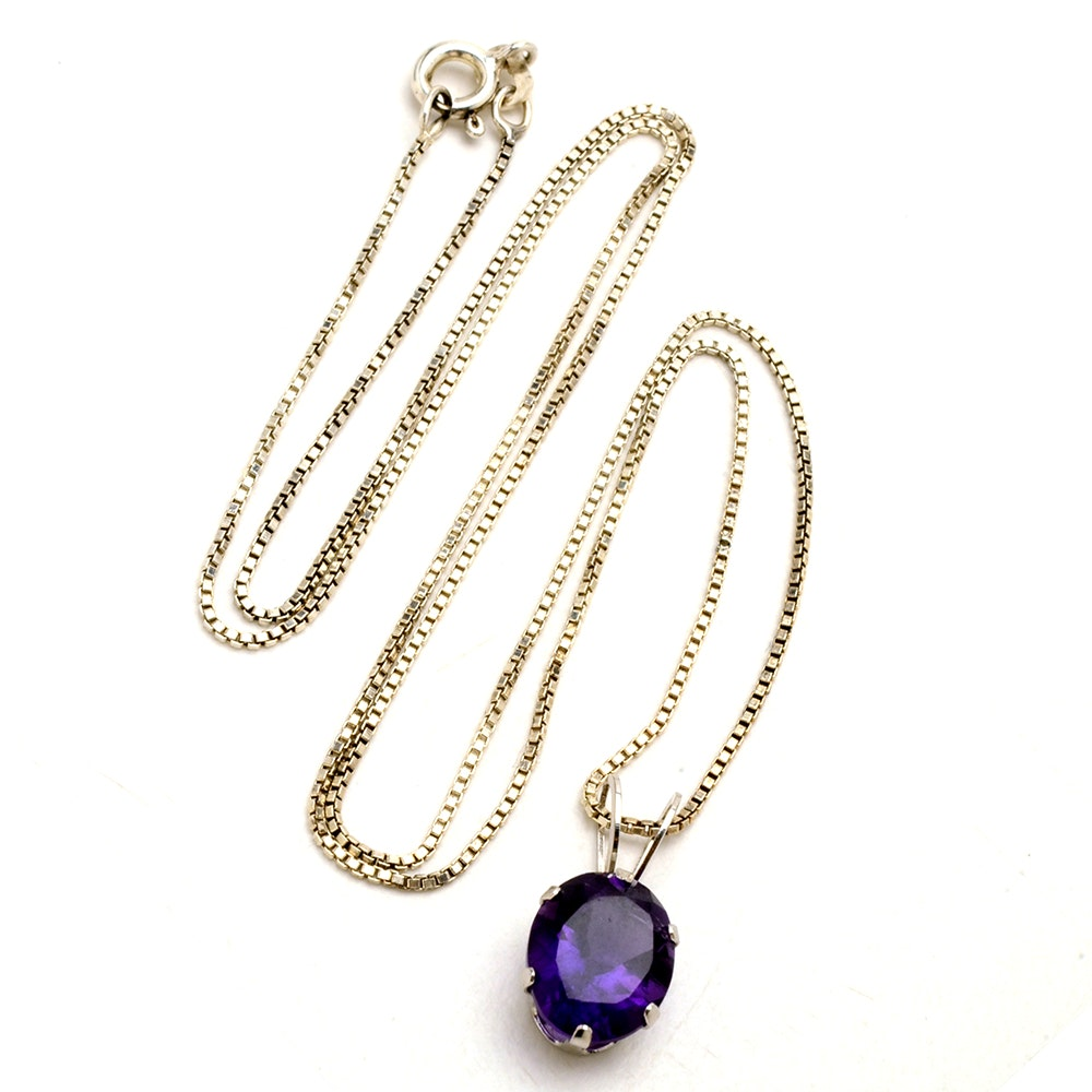 14K White Gold and Sterling Silver Amethyst Pendant Necklace