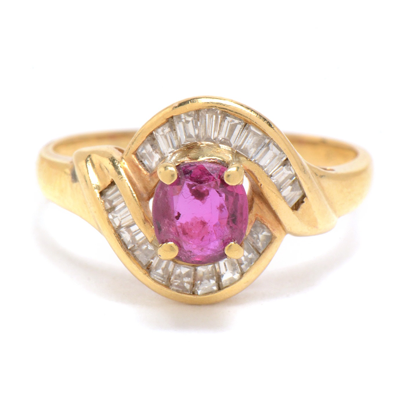 18K Yellow Gold Diamond and Natural Ruby Ring
