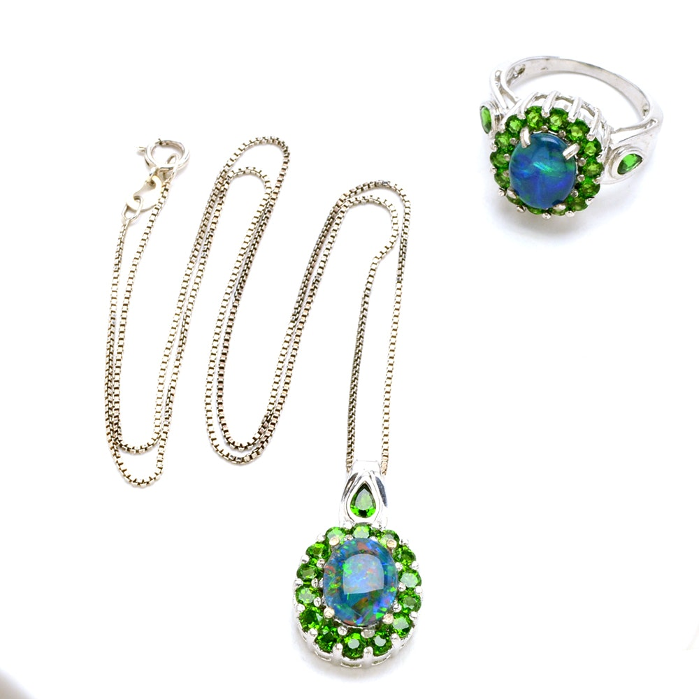 Sterling Silver Imitation Opal Diopside Necklace Ring Set