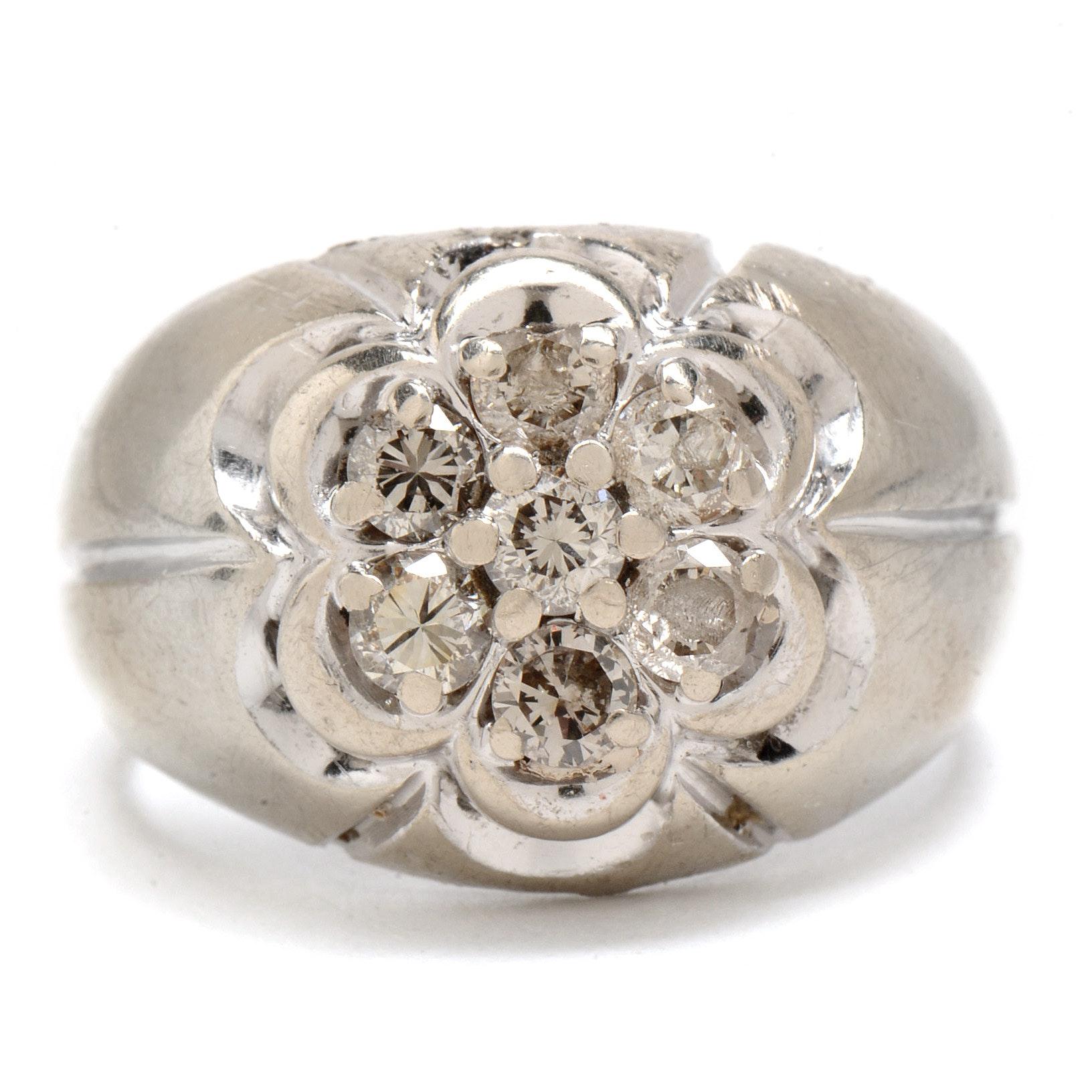 Men's 14K White Gold Diamond Ring