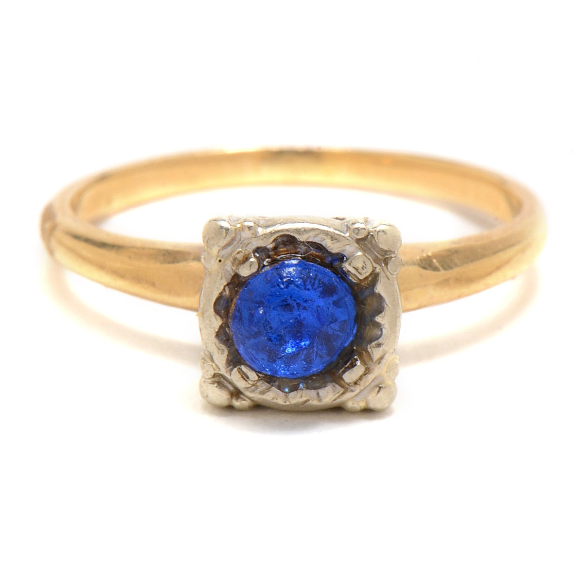 14K Yellow Gold Ring with Blue Foil Back Stone